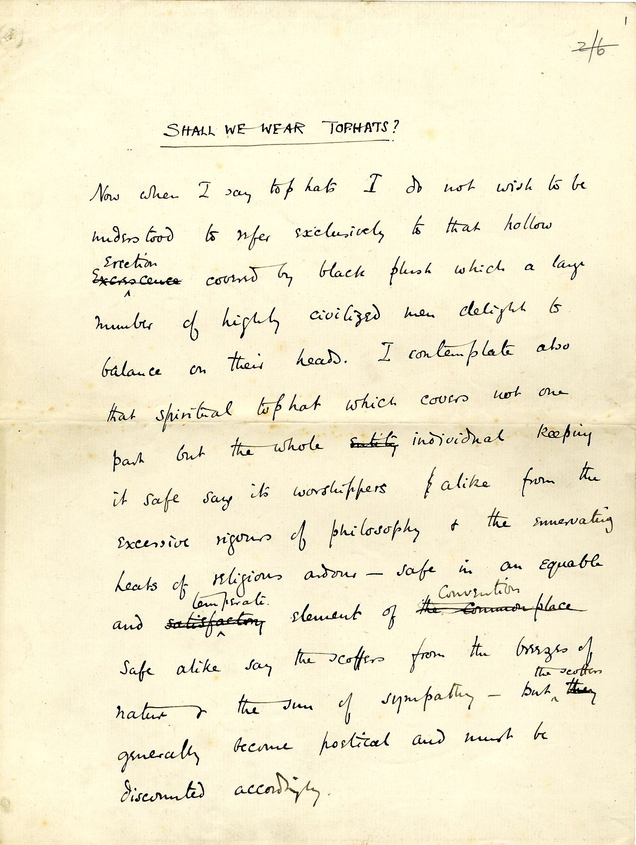 First page of 'Shall we wear top hats?', read by Fry on 6 December 1888. [REF/1/10]