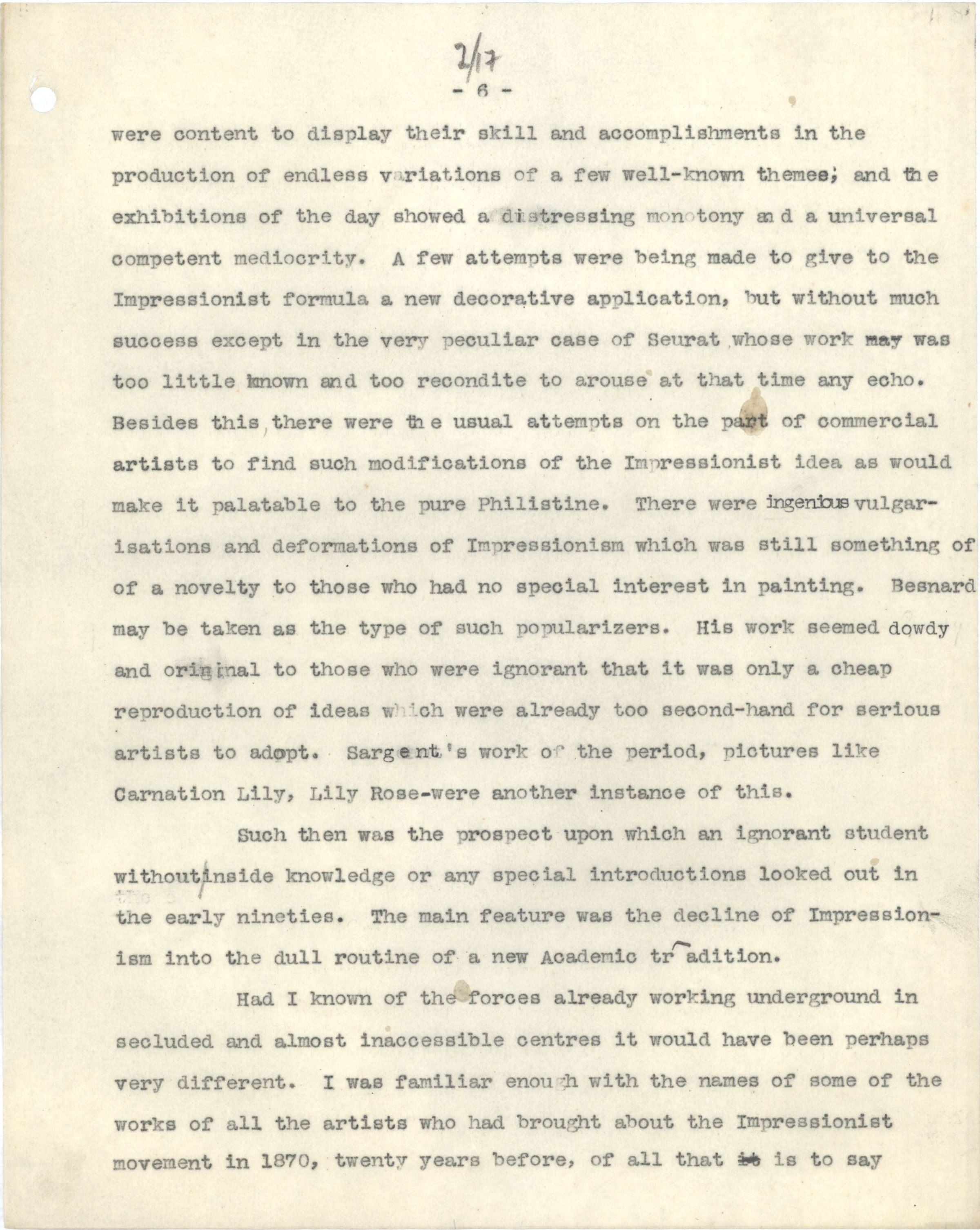 Fry described his experiences in Paris in a lecture given in Bangor on 18 January 1927. [REF/1/117/2, typescript]