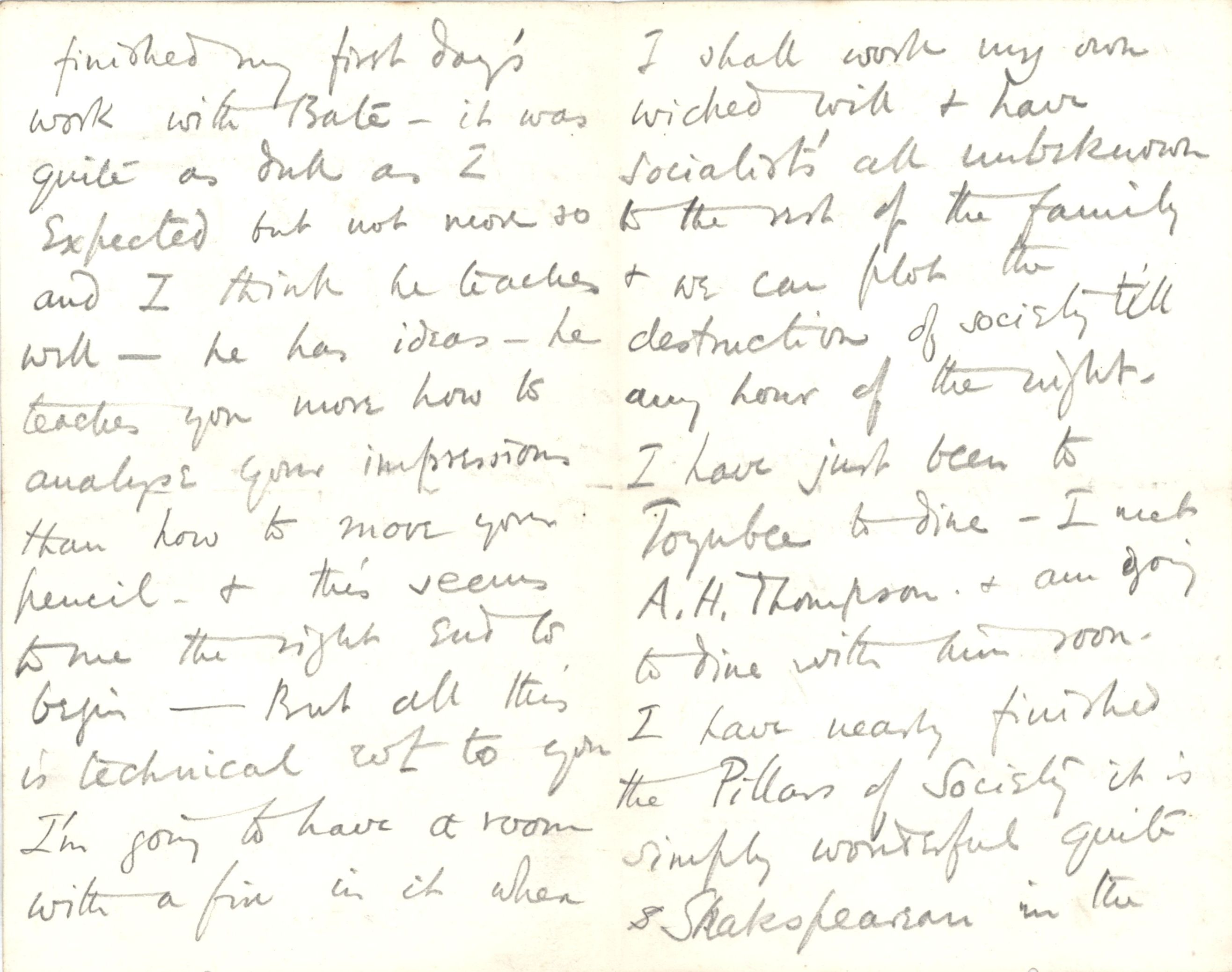 Letter from Roger Fry to Dickinson, 24 January 1889, giving his first impressions of Bates' studio. [REF/3/46/2]
