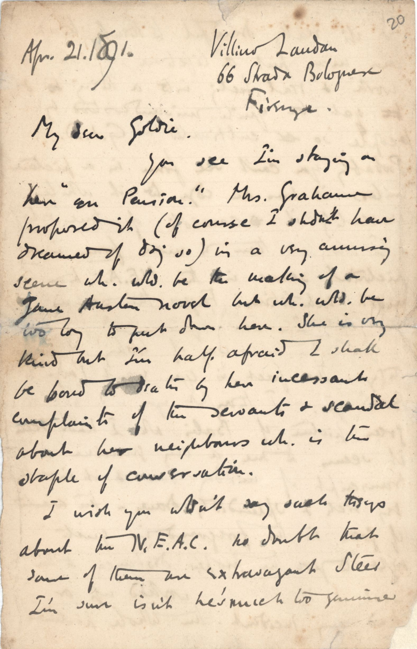 First page of a letter from Roger Fry to Dickinson, 21 April 1891, regarding Florence. [REF/3/46/3]