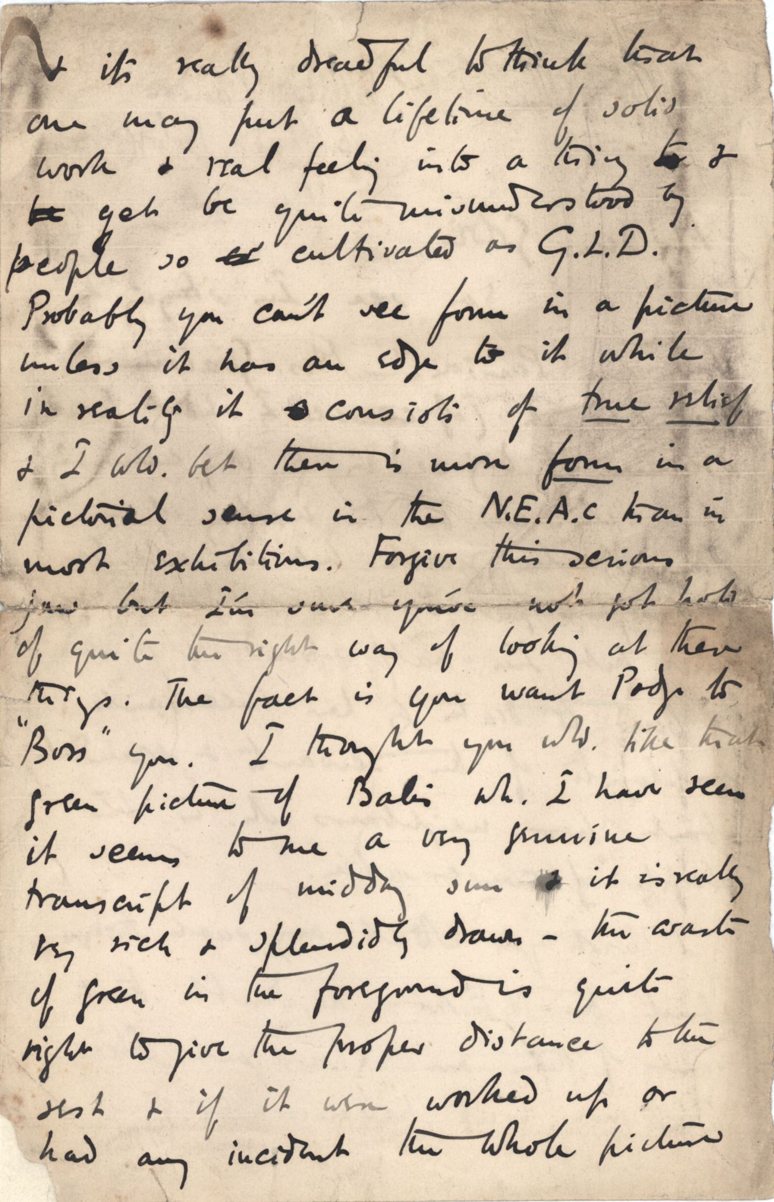 Second page of a letter from Roger Fry to Dickinson, 21 April 1891, regarding Florence. [REF/3/46/3]