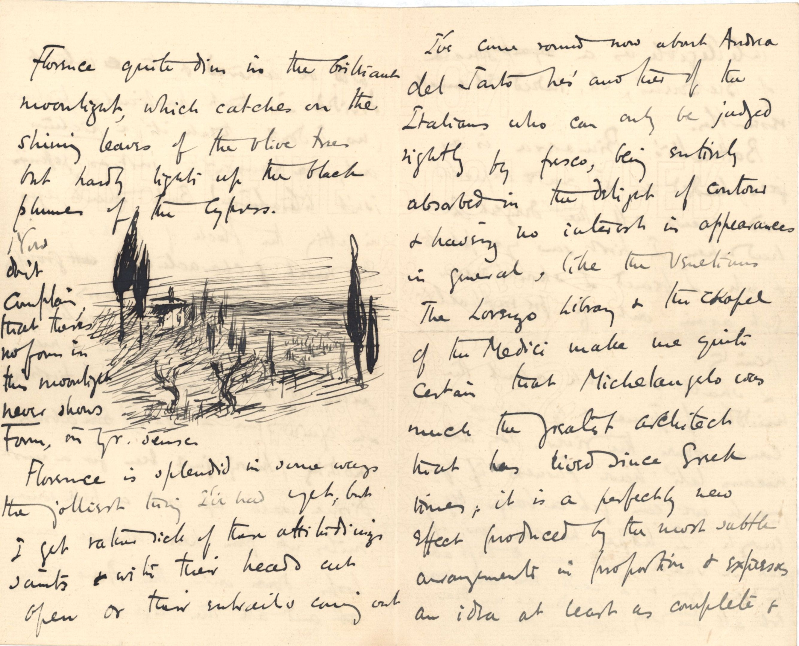 Third page of a letter from Roger Fry to Dickinson, 21 April 1891, regarding Florence. [REF/3/46/3]