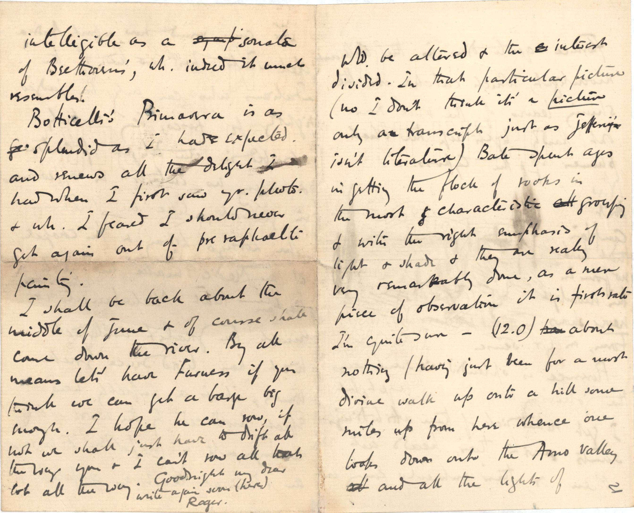 Fourth page of a letter from Roger Fry to Dickinson, 21 April 1891, regarding Florence. [REF/3/46/3]