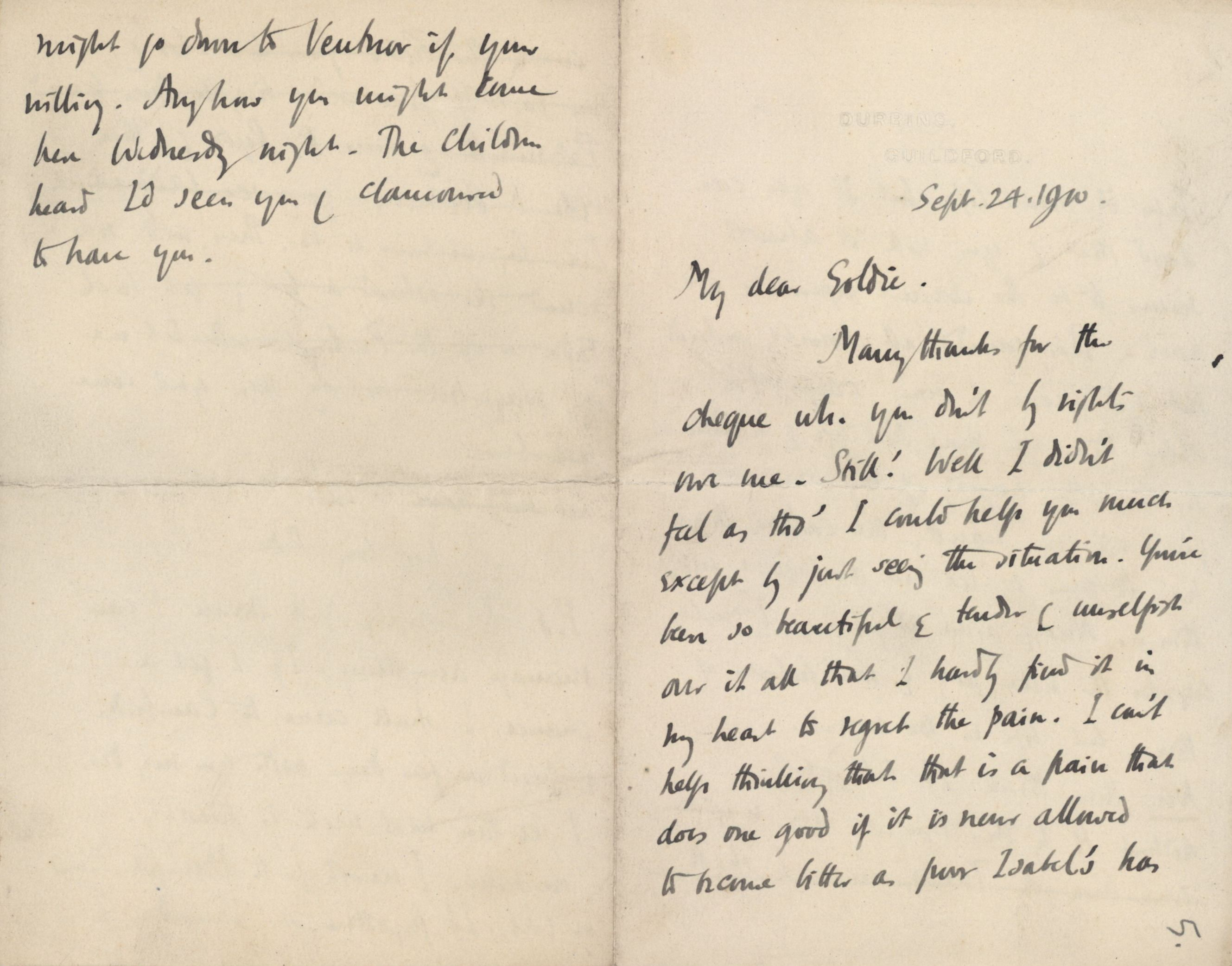 Letter from Roger Fry to Goldsworthy Lowes Dickinson, 24 September 1910, concerning love and hurt. [REF/3/46/6]