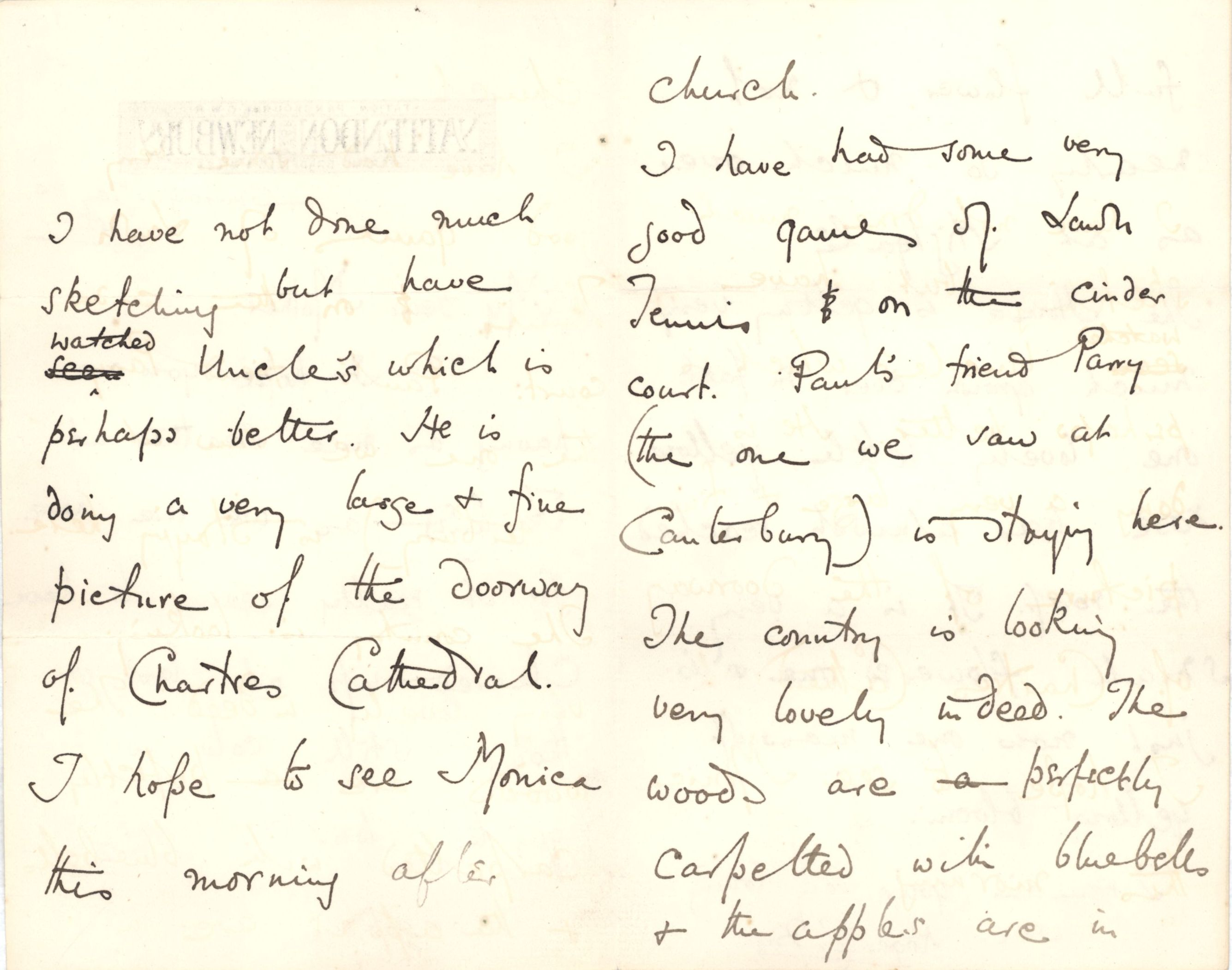 Letter from Roger Fry to his mother, 24 May 1885, describing a visit to the Waterhouses. [REF/3/57]