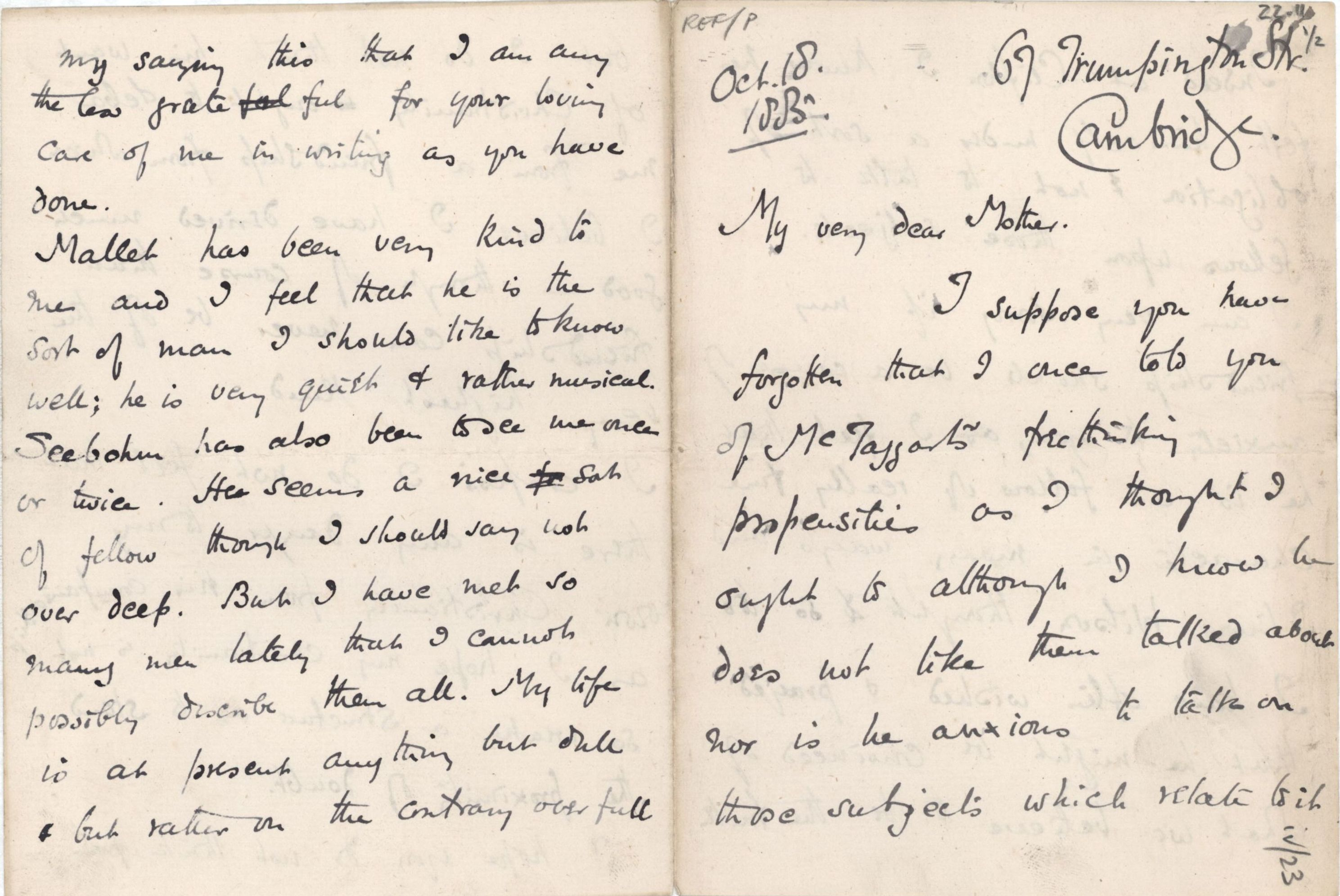 Letter from Roger Fry to his mother, 18 October 1885, concerning McTaggart and his own faith. [REF/3/57/21]
