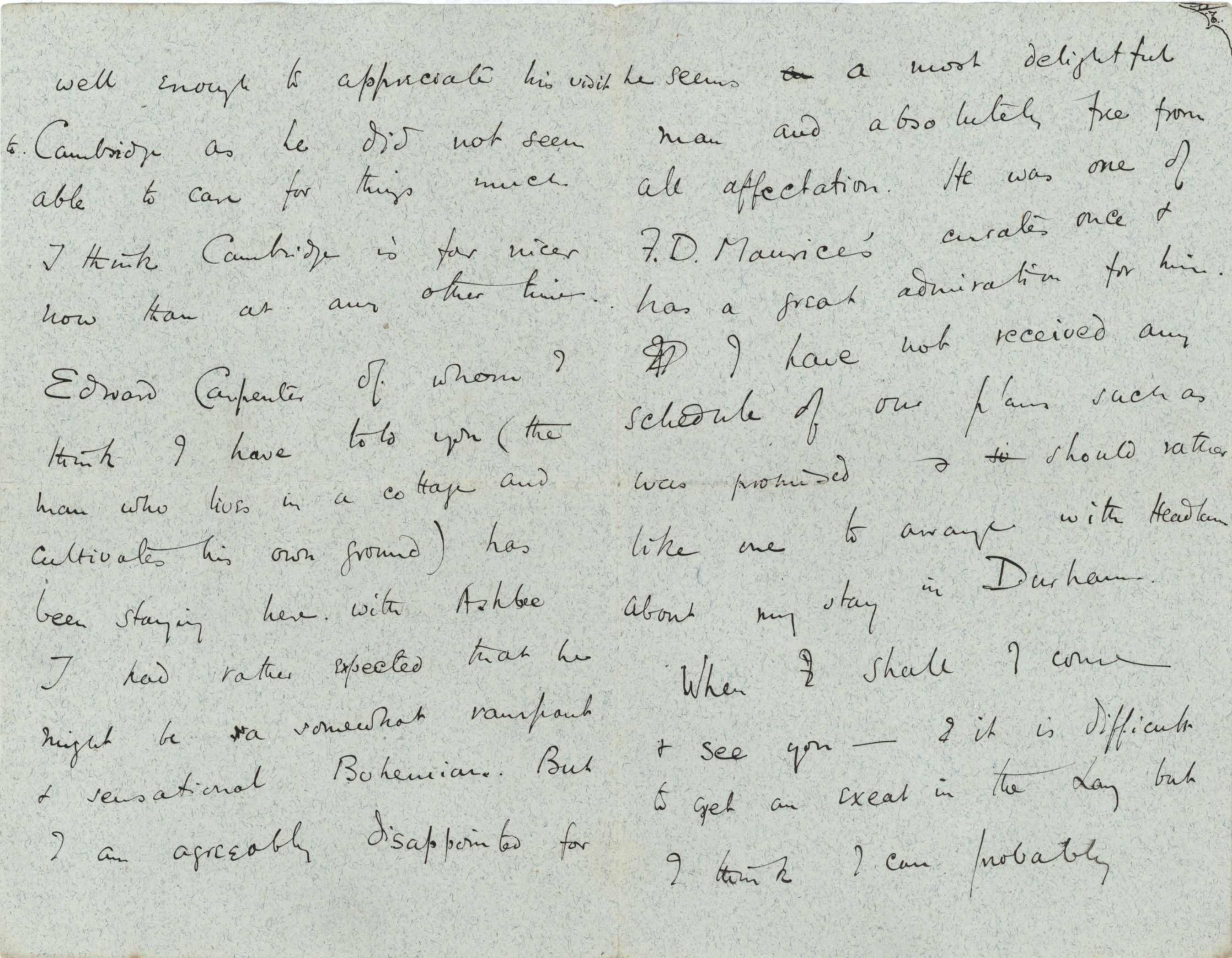 Part of a letter from Roger Fry to his mother, 25 July 1886, concerning Carpenter. [REF/3/57/23, iv 51 verso]