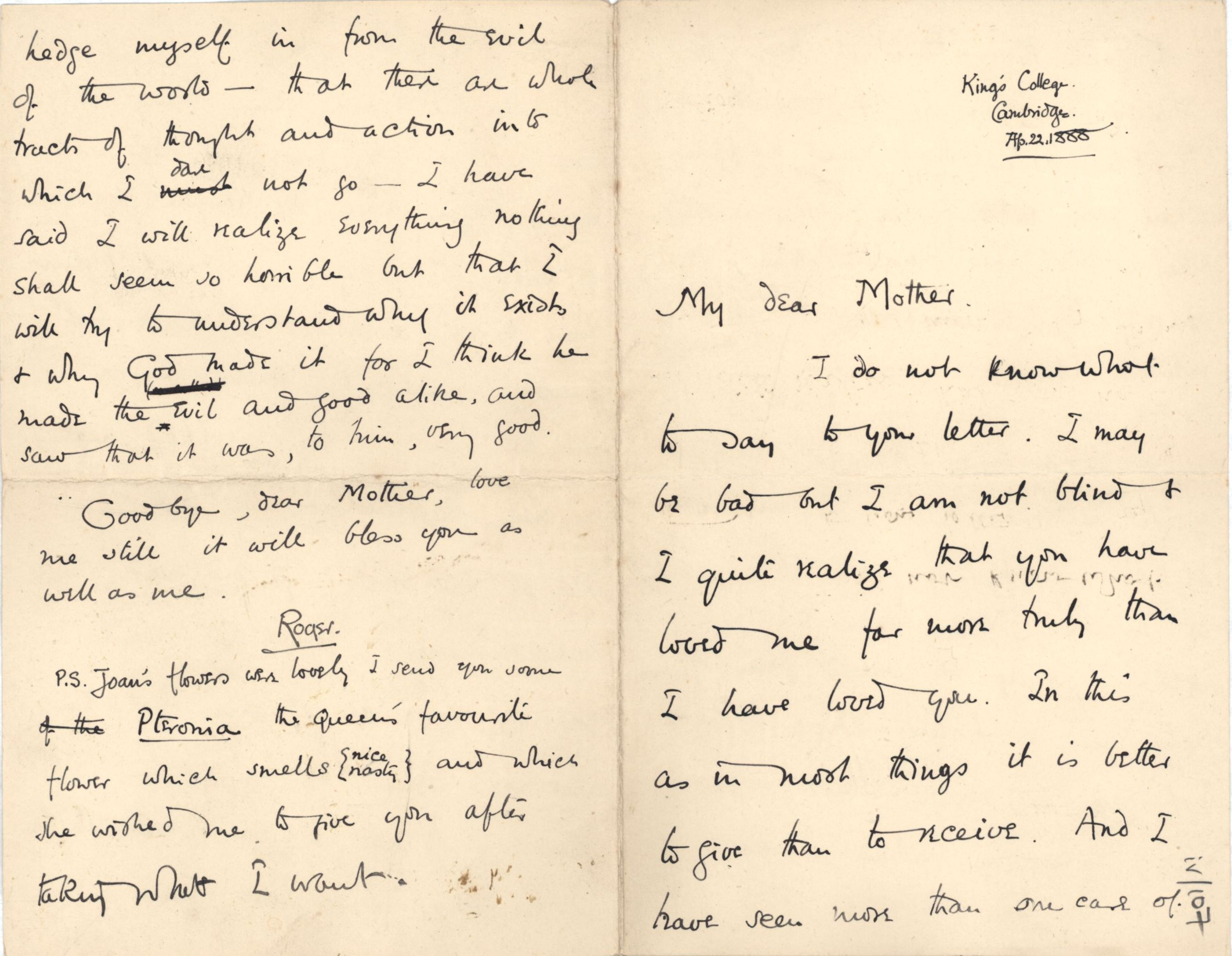 Letter from Roger Fry to his mother, 22 April 1888, expressing religious doubts. [REF/3/57/25]