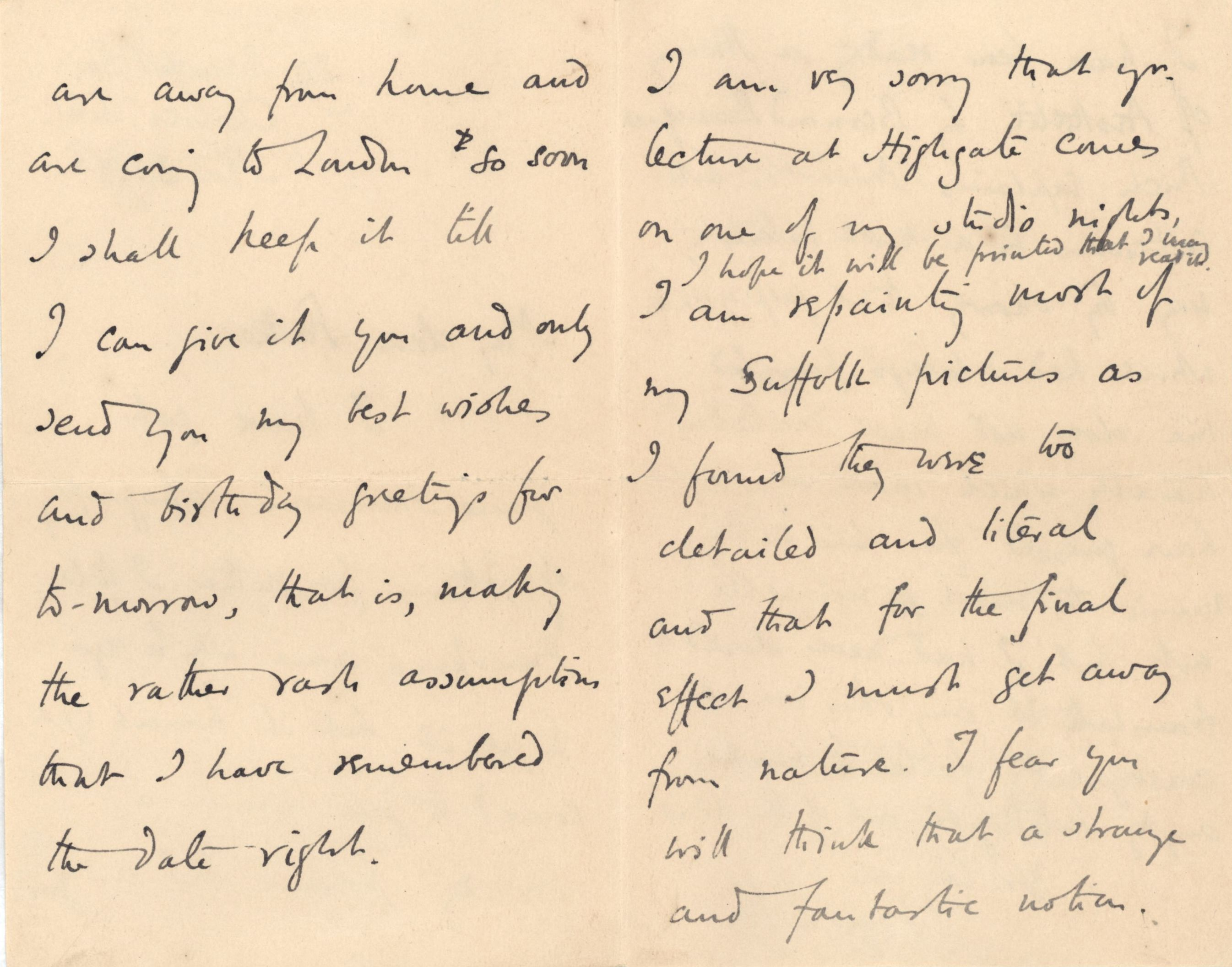Letter from Roger Fry to his father, 3 November 1893, concerning his Suffolk paintings. [REF/3/57/28]