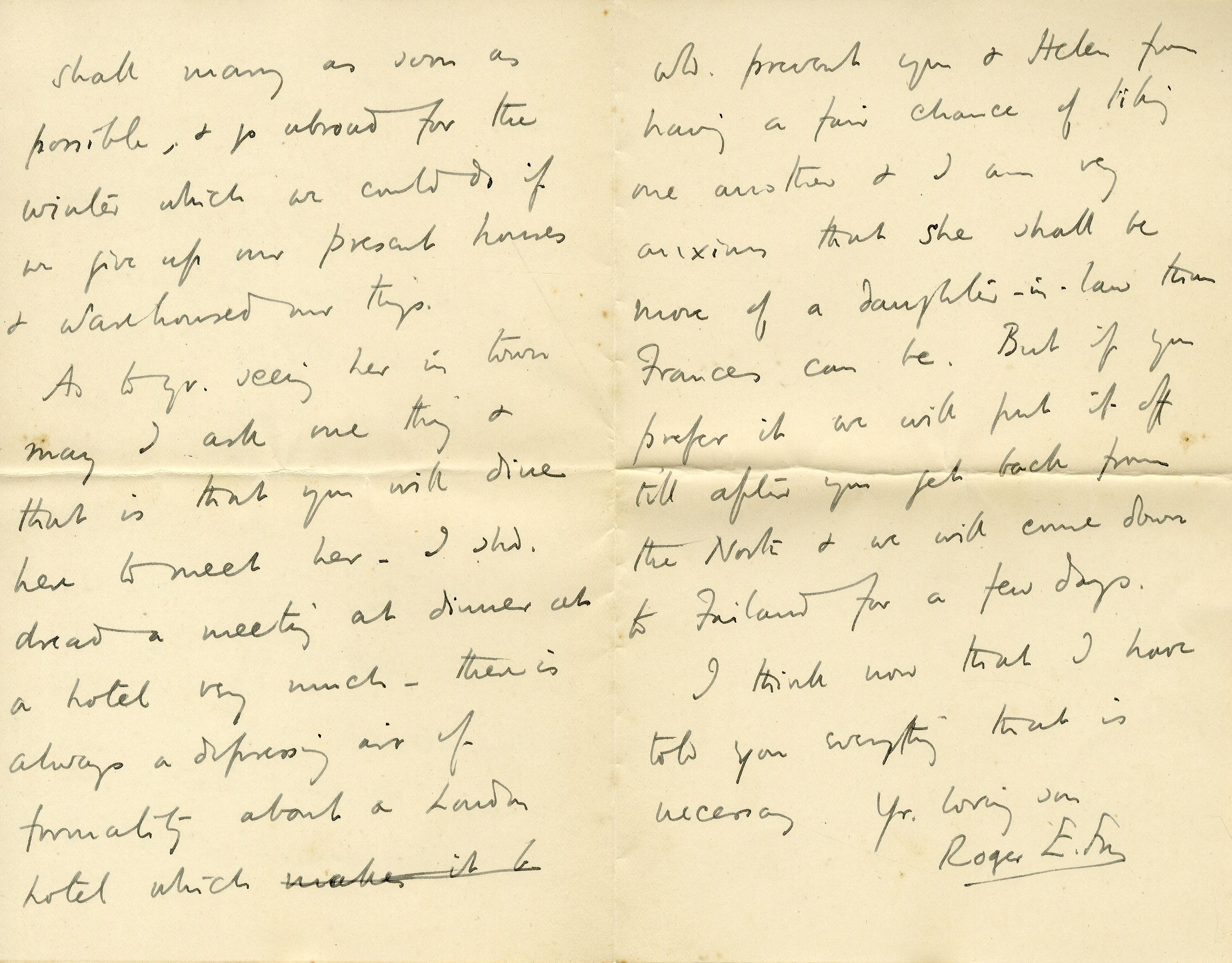 Letter from Roger Fry to his mother, 1896, concerning Helen Coombe. [REF/3/57/23]