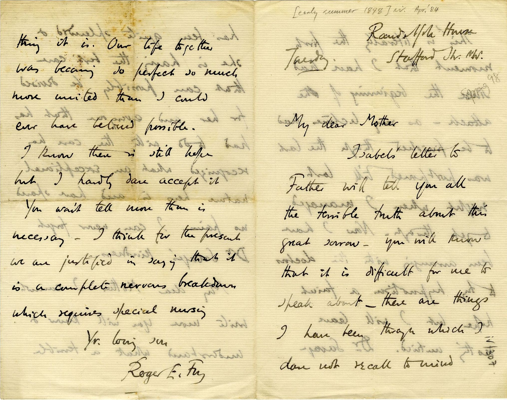 Letter from Roger Fry to his mother, 1898, concerning Helen's nervous breakdown. [REF/3/57/32]