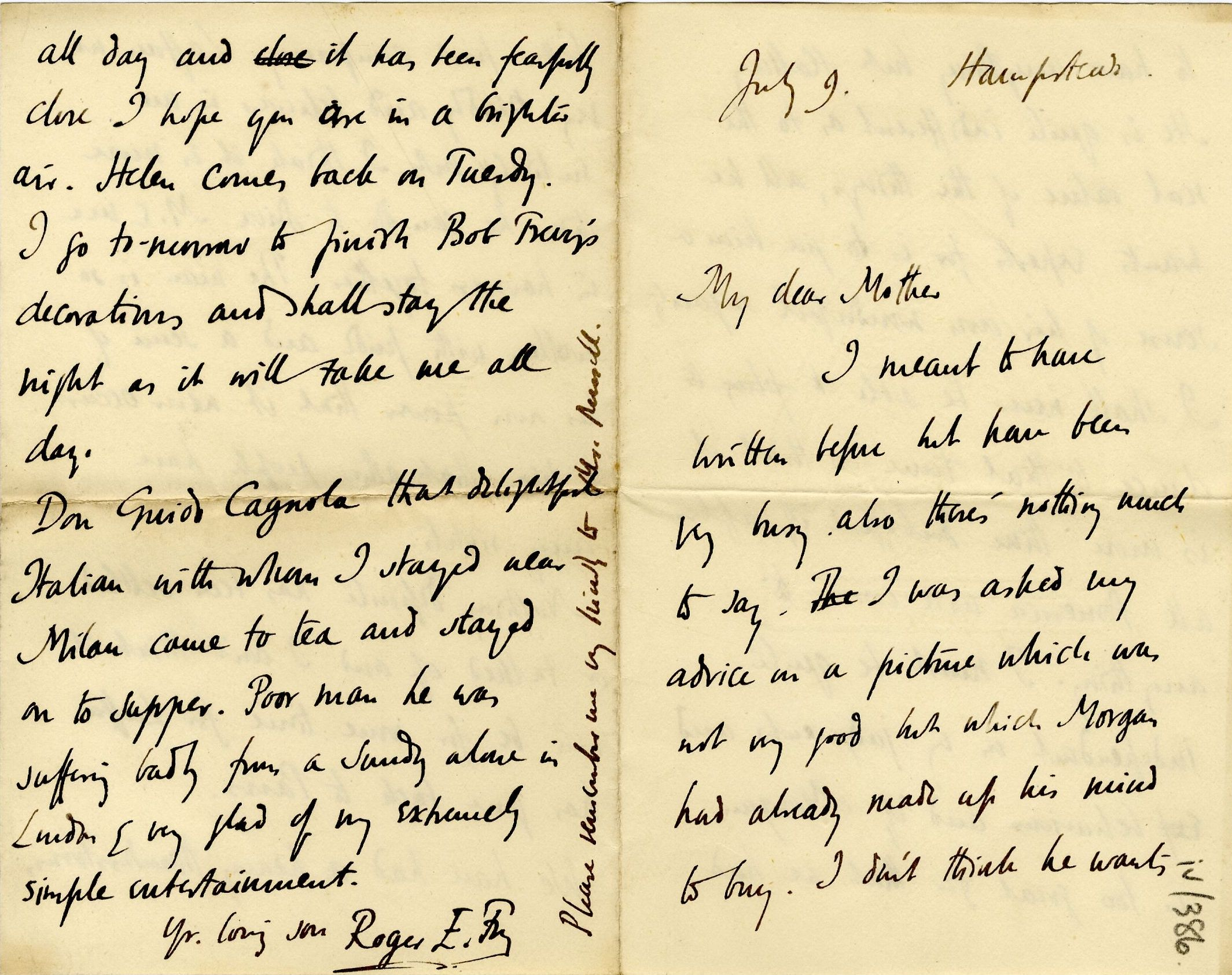 Letter from Roger Fry to Lady Fry, [1905], concerning J.P. Morgan. [REF/3/57/35]