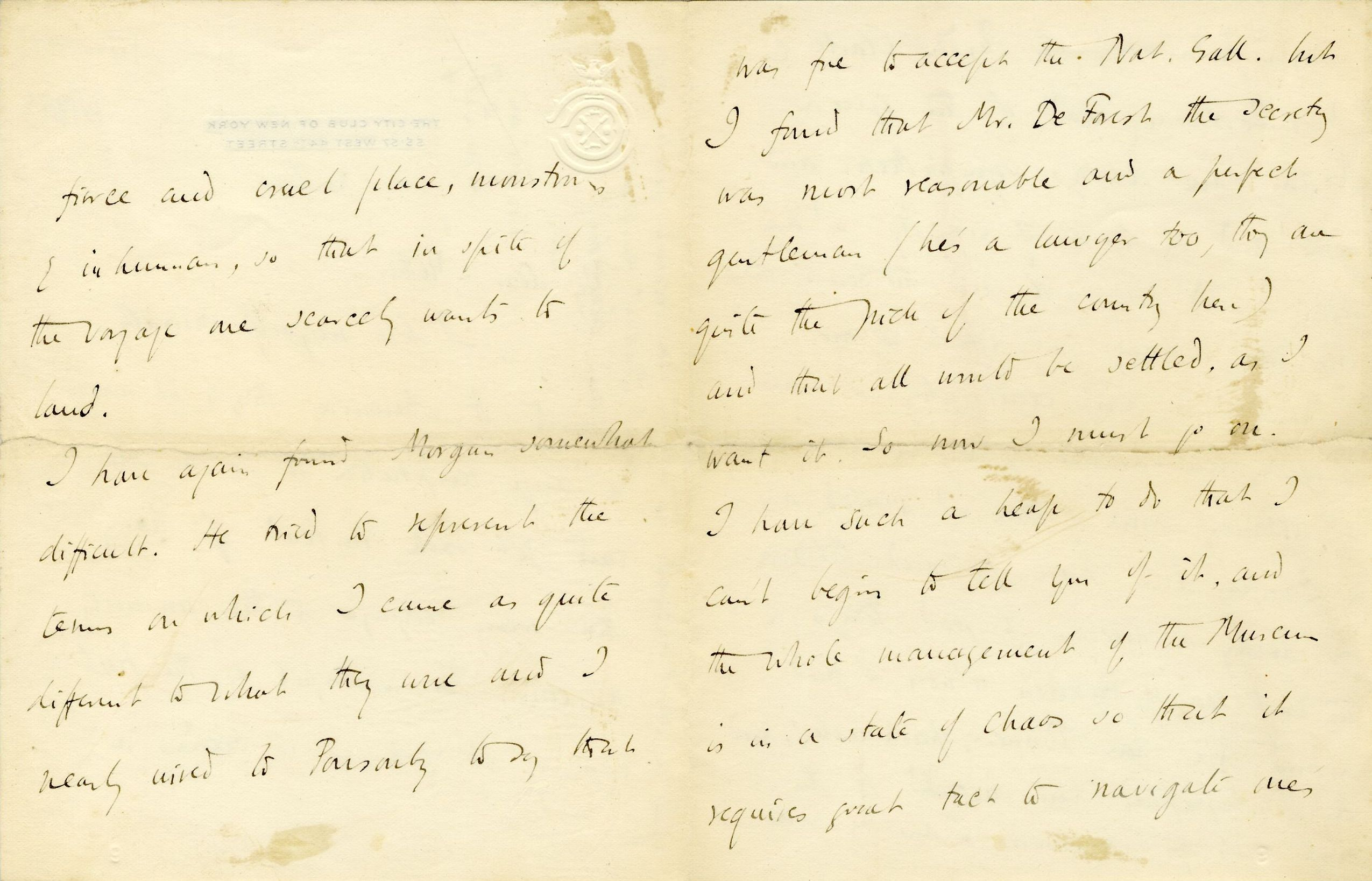Letter from Roger Fry to Lady Fry, 1906, concerning the offer from the National Gallery. [REF/3/57/35]