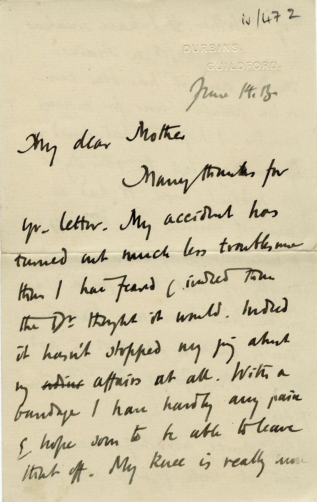 First page of a letter from Roger Fry to his mother, 14 June 1913, concerning his hopes for the Omega Workshops and their influence on art in England. [REF/3/57/37]