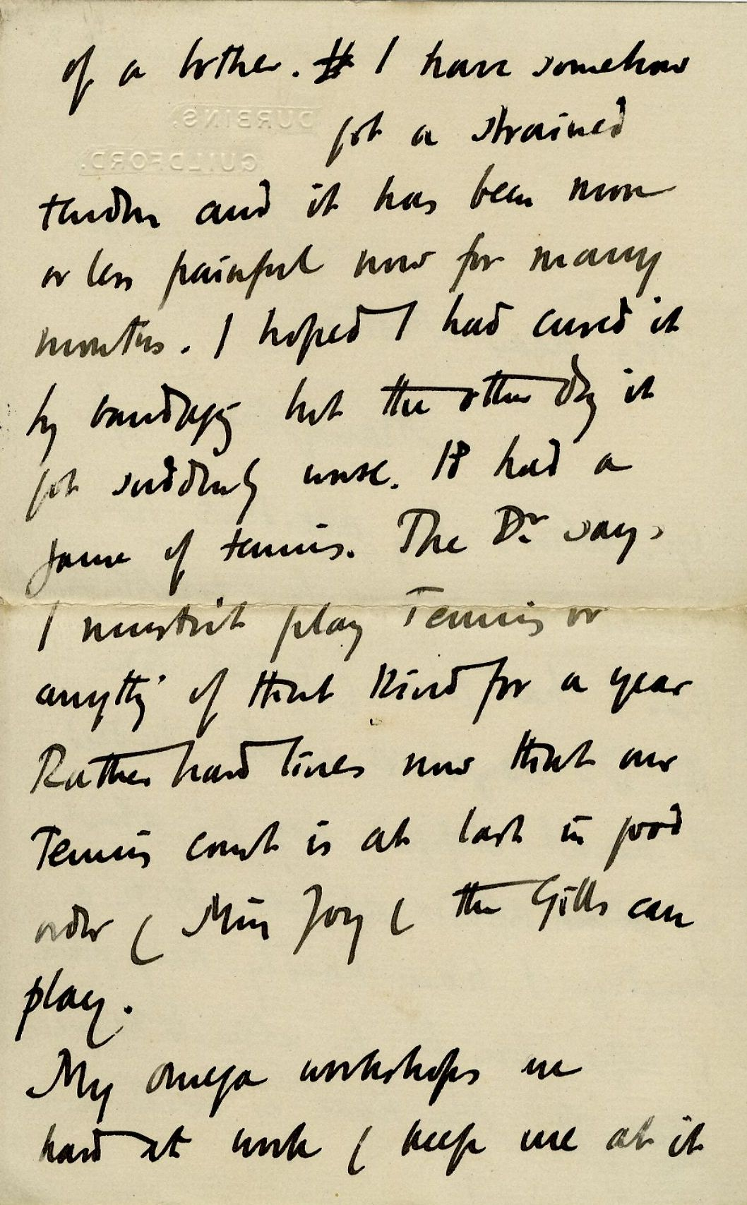 Second page of a letter from Roger Fry to his mother, 14 June 1913, concerning his hopes for the Omega Workshops and their influence on art in England. [REF/3/57/37]