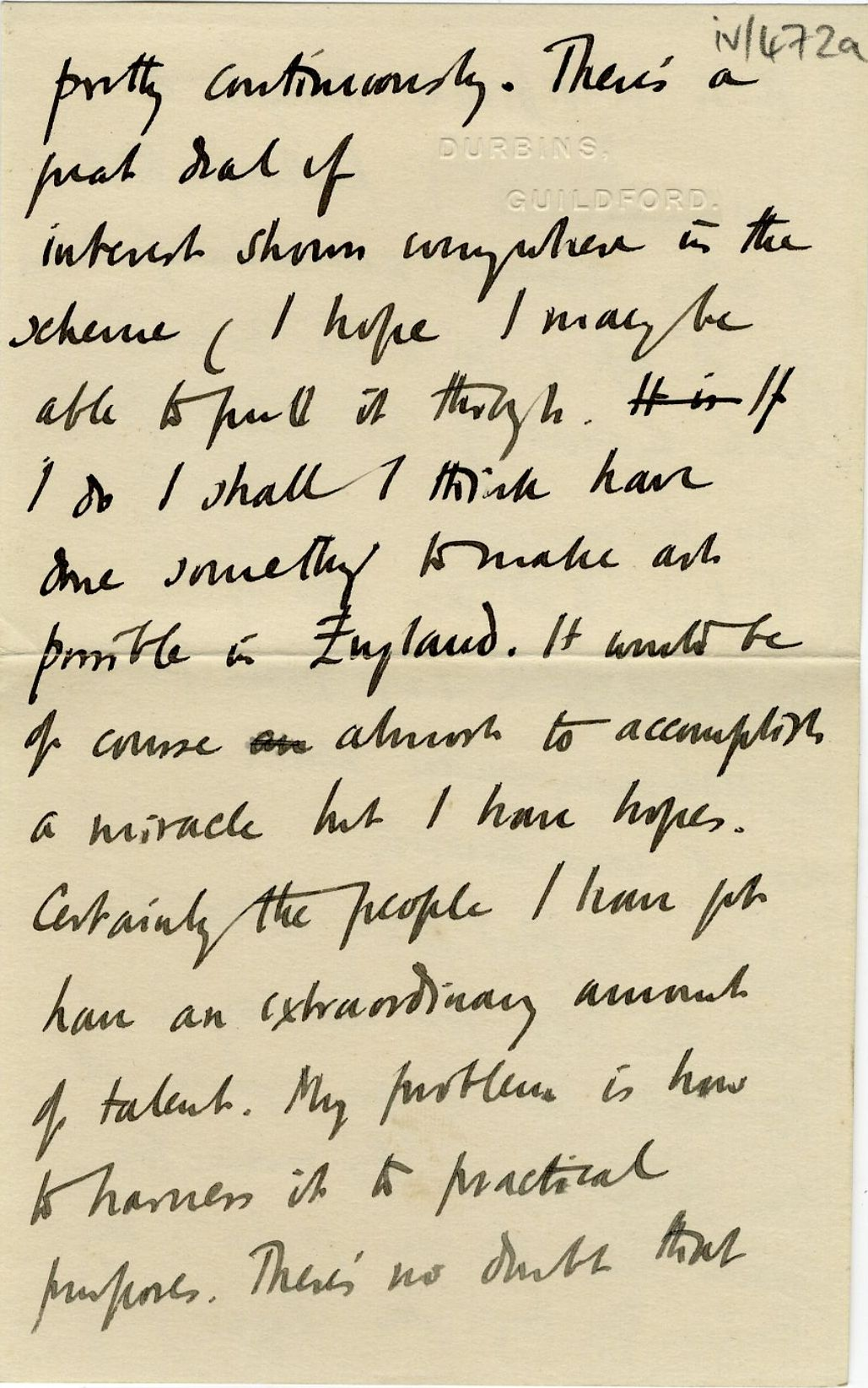 Third page of a letter from Roger Fry to his mother, 14 June 1913, concerning his hopes for the Omega Workshops and their influence on art in England. [REF/3/57/37]