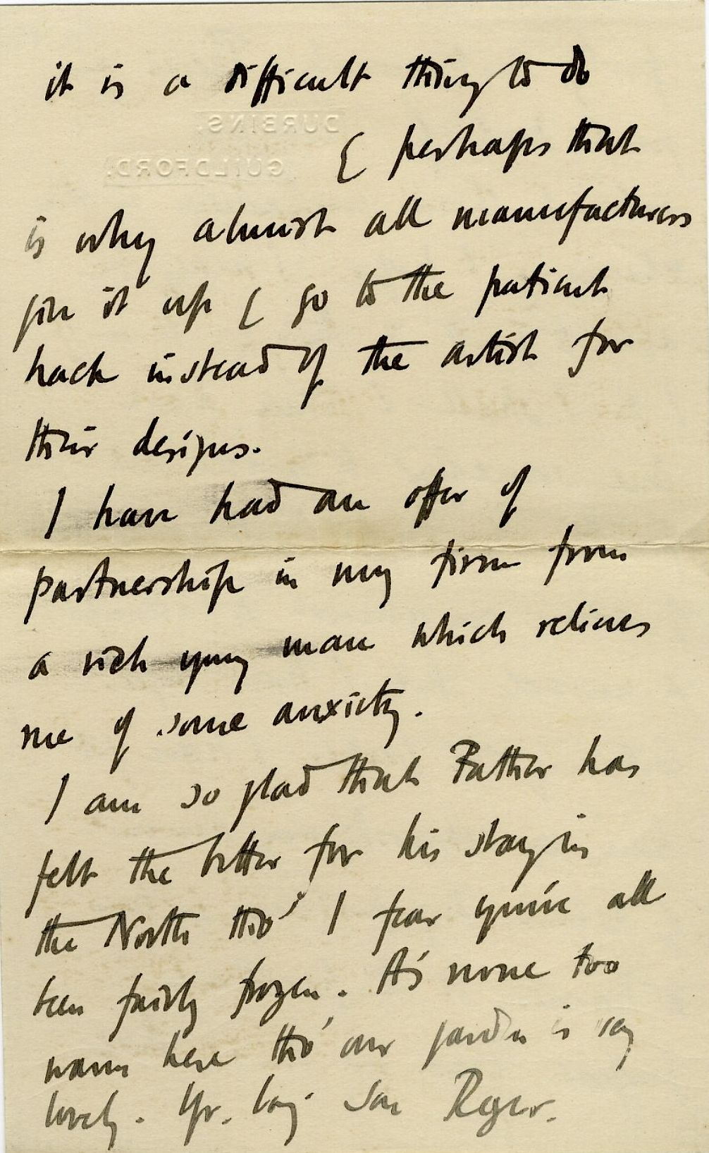 Fourth page of a letter from Roger Fry to his mother, 14 June 1913, concerning his hopes for the Omega Workshops and their influence on art in England. [REF/3/57/37]