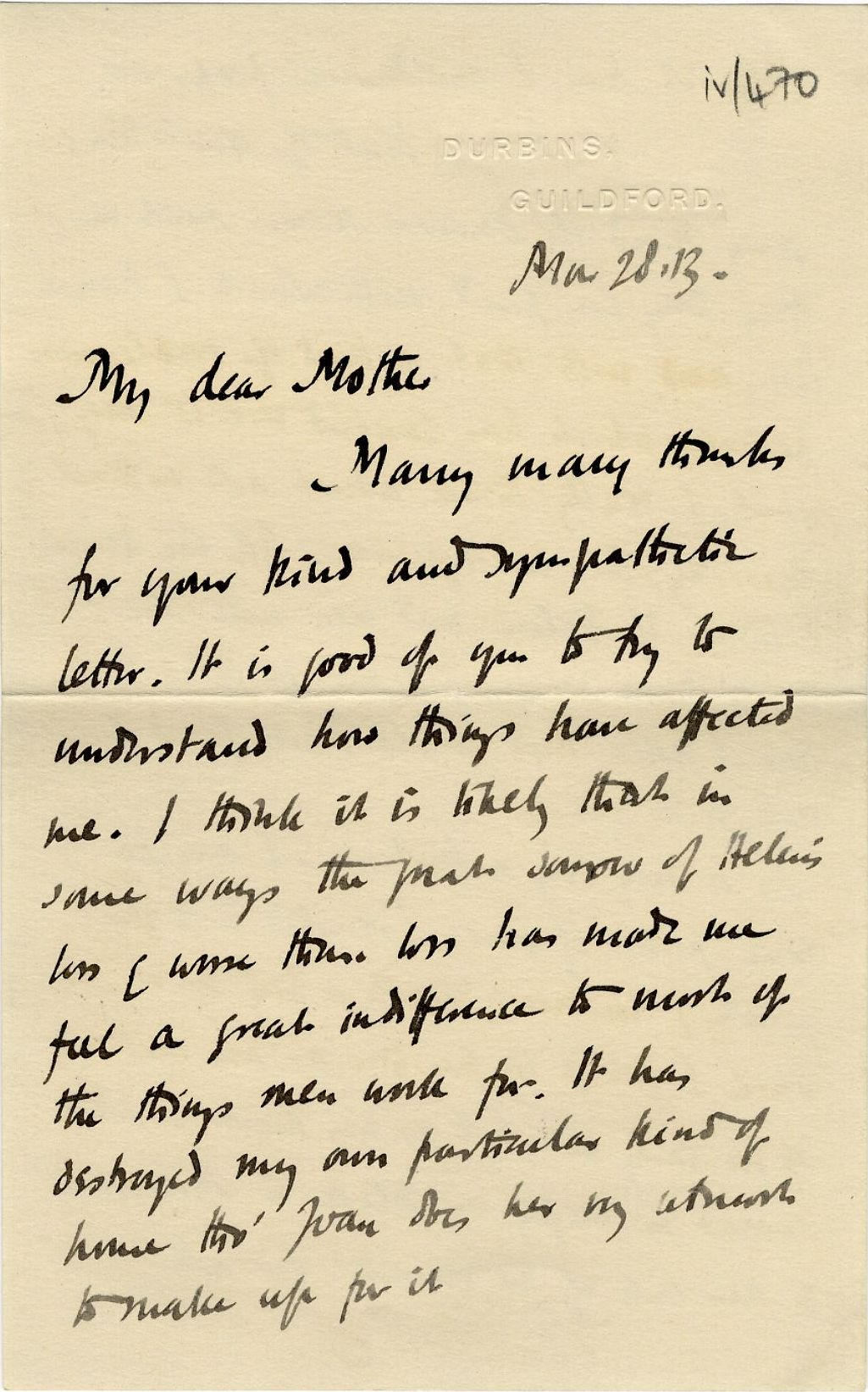 First page of a letter from Roger Fry to his mother, 28 March 1913, concerning failure and ambition. [REF/3/57/37]