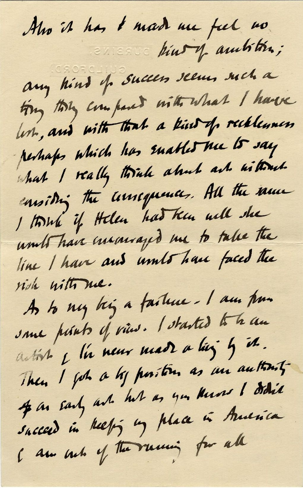 Second page of a letter from Roger Fry to his mother, 28 March 1913, concerning failure and ambition. [REF/3/57/37]