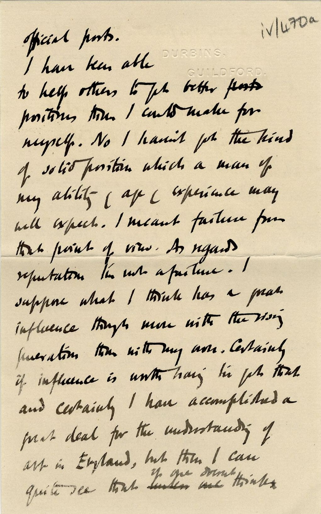 Third page of a letter from Roger Fry to his mother, 28 March 1913, concerning failure and ambition. [REF/3/57/37]