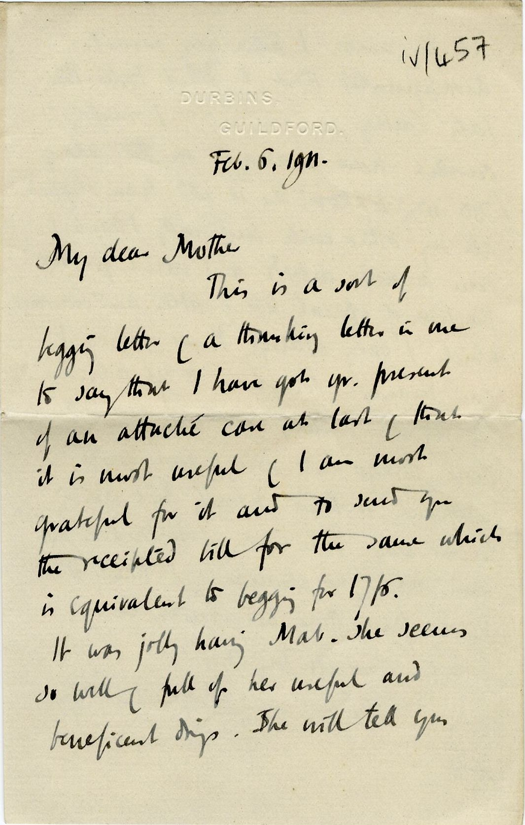 First page of a letter from Roger Fry to his mother, 6 February 1911, concerning his refusal of the Directorship of the Tate Gallery. [REF/3/57/37]