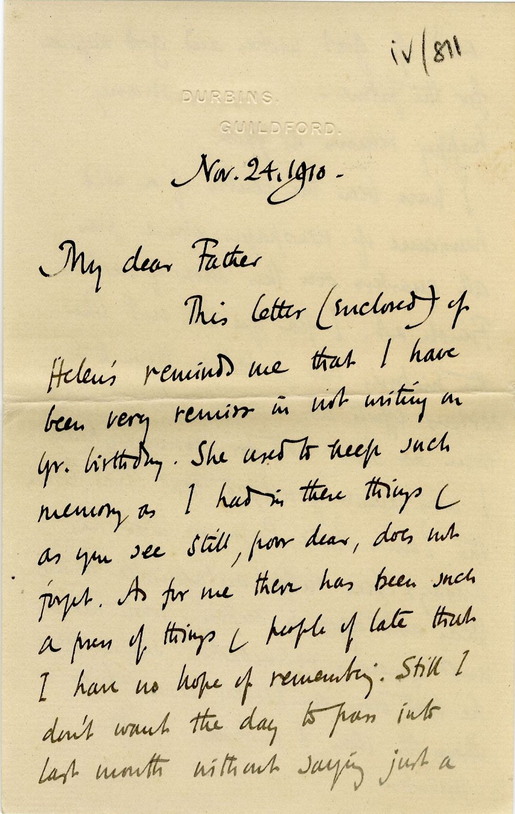 First page of a letter from Roger Fry to his father, 24 November 1910, concerning the press' reaction to the exhibition. [REF/3/57/37]
