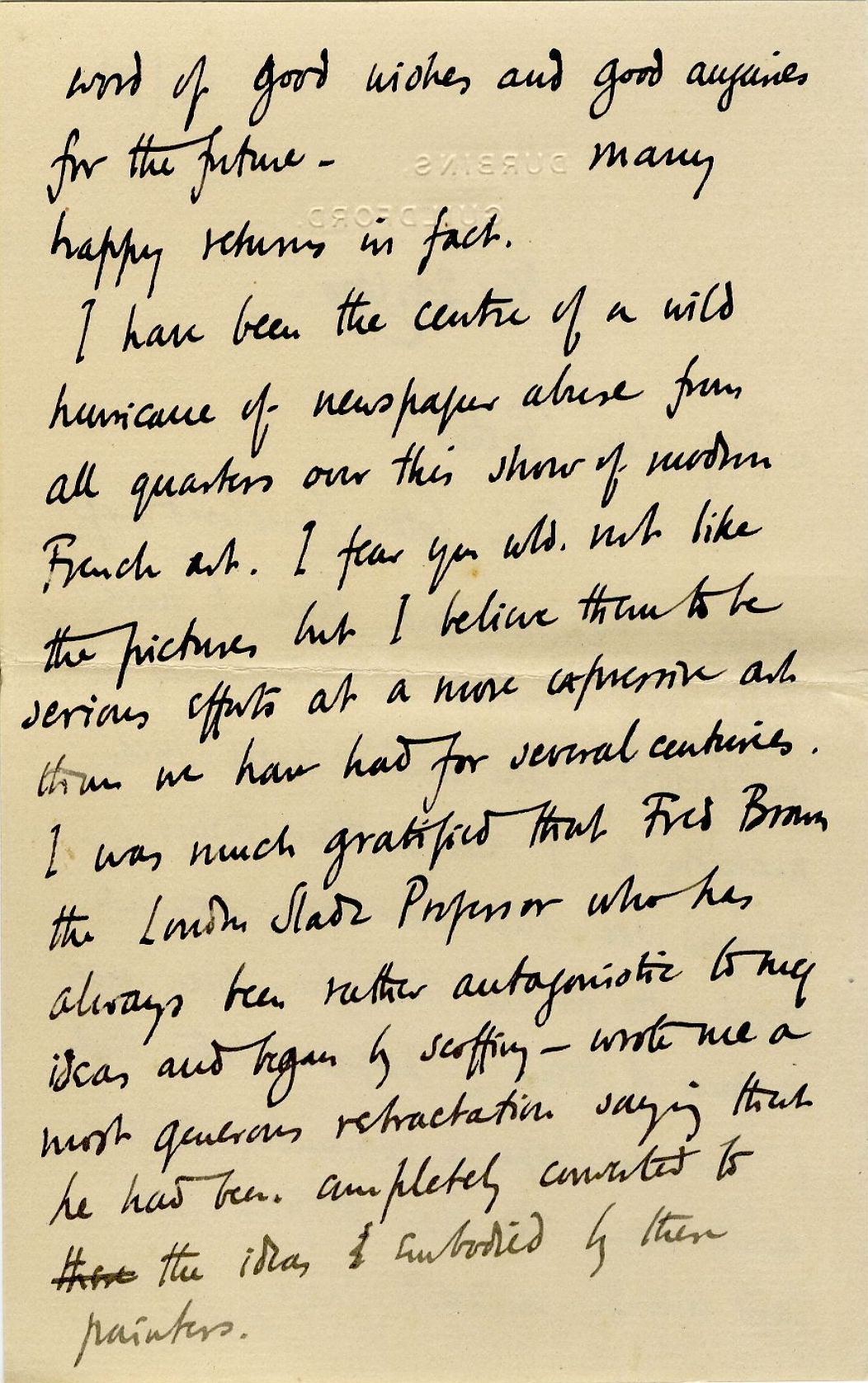 Second page of a letter from Roger Fry to his father, 24 November 1910, concerning the press' reaction to the exhibition. [REF/3/57/37]