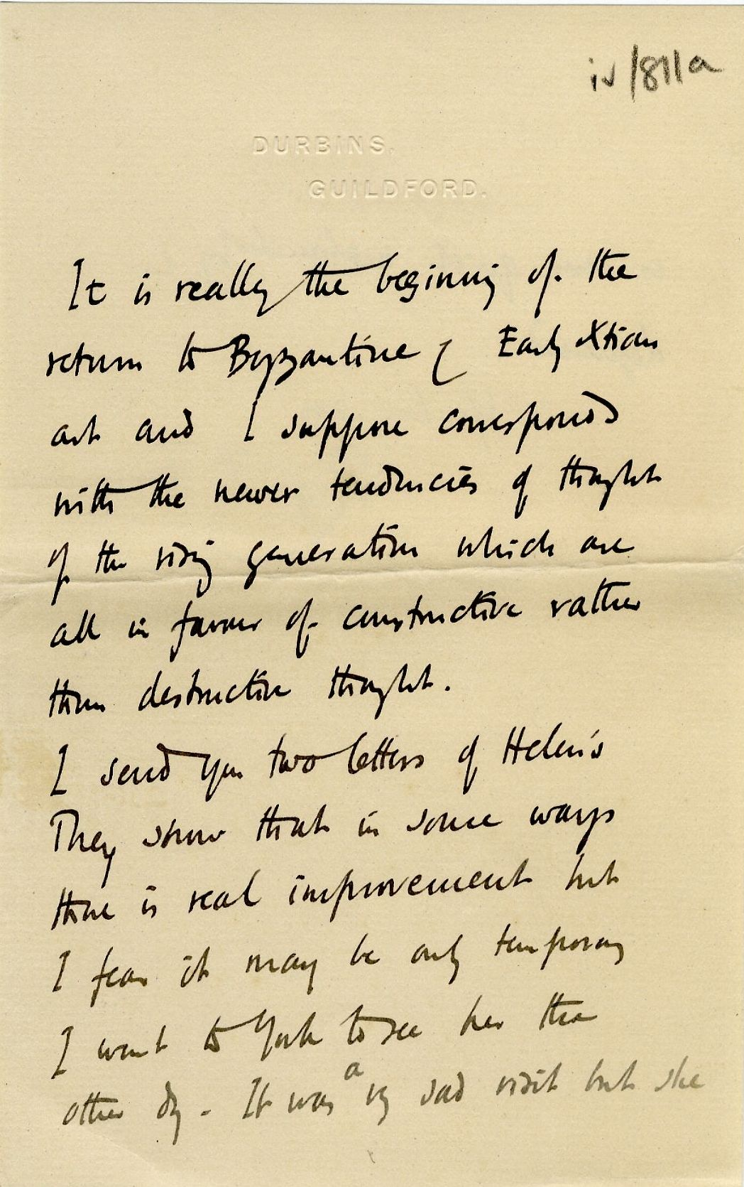 Third page of a letter from Roger Fry to his father, 24 November 1910, concerning the press' reaction to the exhibition. [REF/3/57/37]