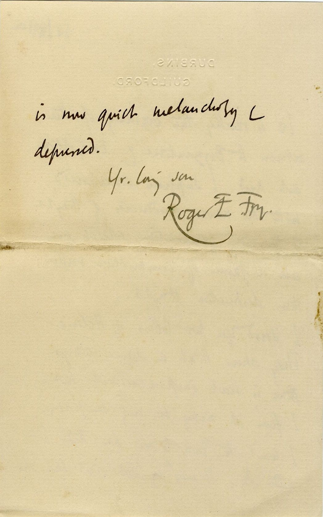 Fourth page of a letter from Roger Fry to his father, 24 November 1910, concerning the press' reaction to the exhibition. [REF/3/57/37]