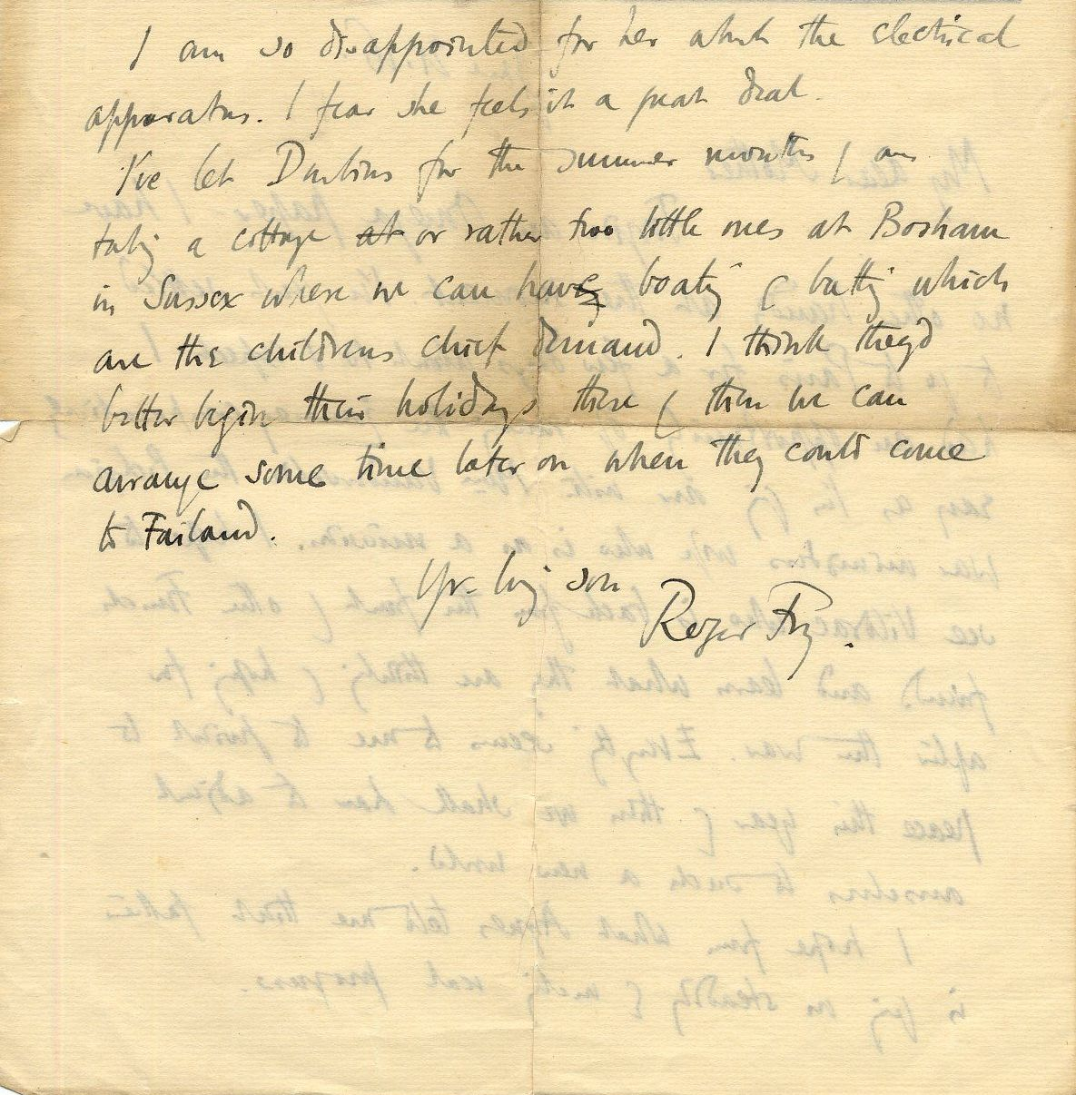 Letter from Roger Fry to his mother, 21 June 1916, mentioning his planned visit to Paris. [REF/3/58/38 - Omega letterhead removed]]