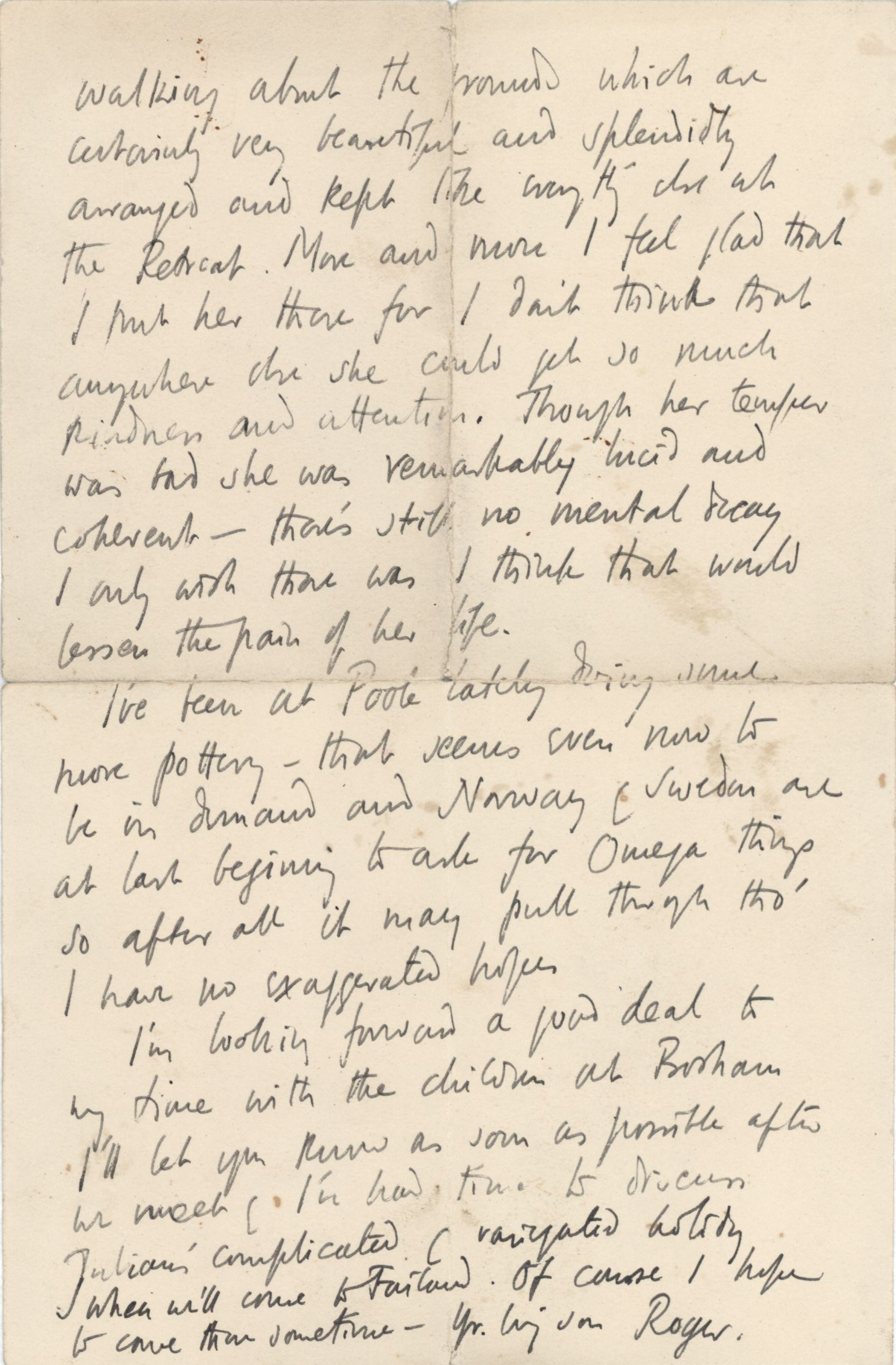 Letter from Roger Fry to his mother, 21 June 1916, describing a visit to see Helen. [REF/3/58/38]