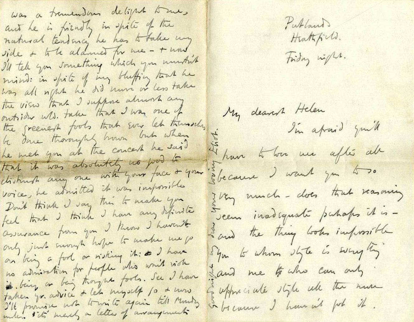 Letter from Roger Fry to Helen Coombe, 1896, concerning his feelings for her. [REF/3/58]