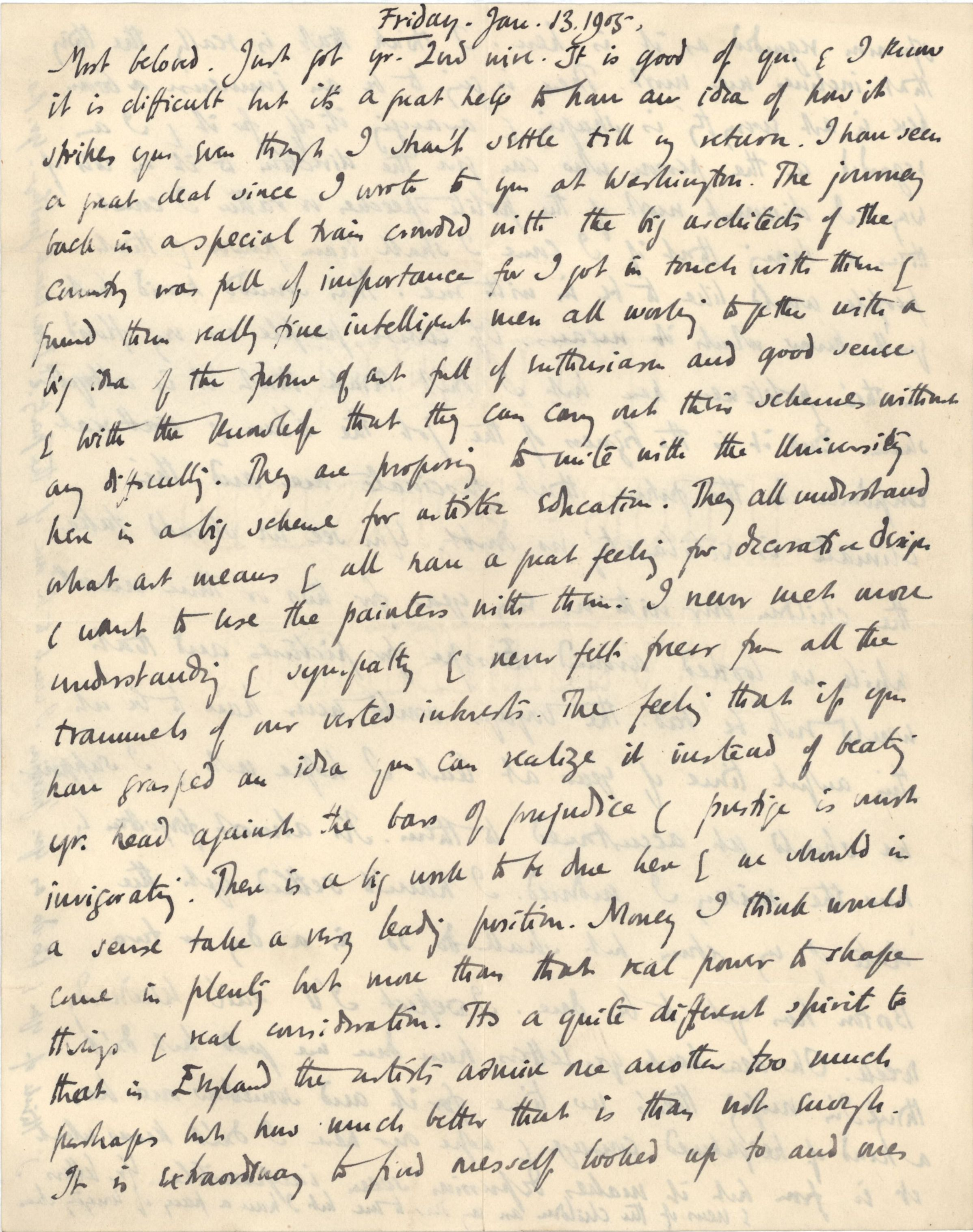 Letter from Roger Fry to Helen Fry, 13 January 1905, expressing excitement about the New York art scene. [REF/3/58/3]