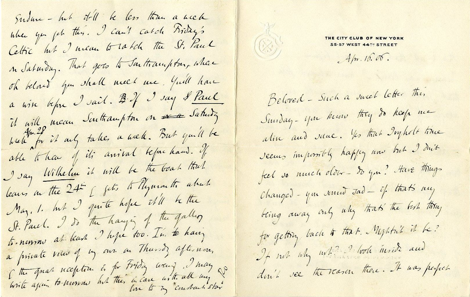 Letter from Roger Fry to Helen Coombe, 16 April 1906, discussing their early days at Ivy Holt. [REF/3/58/4]