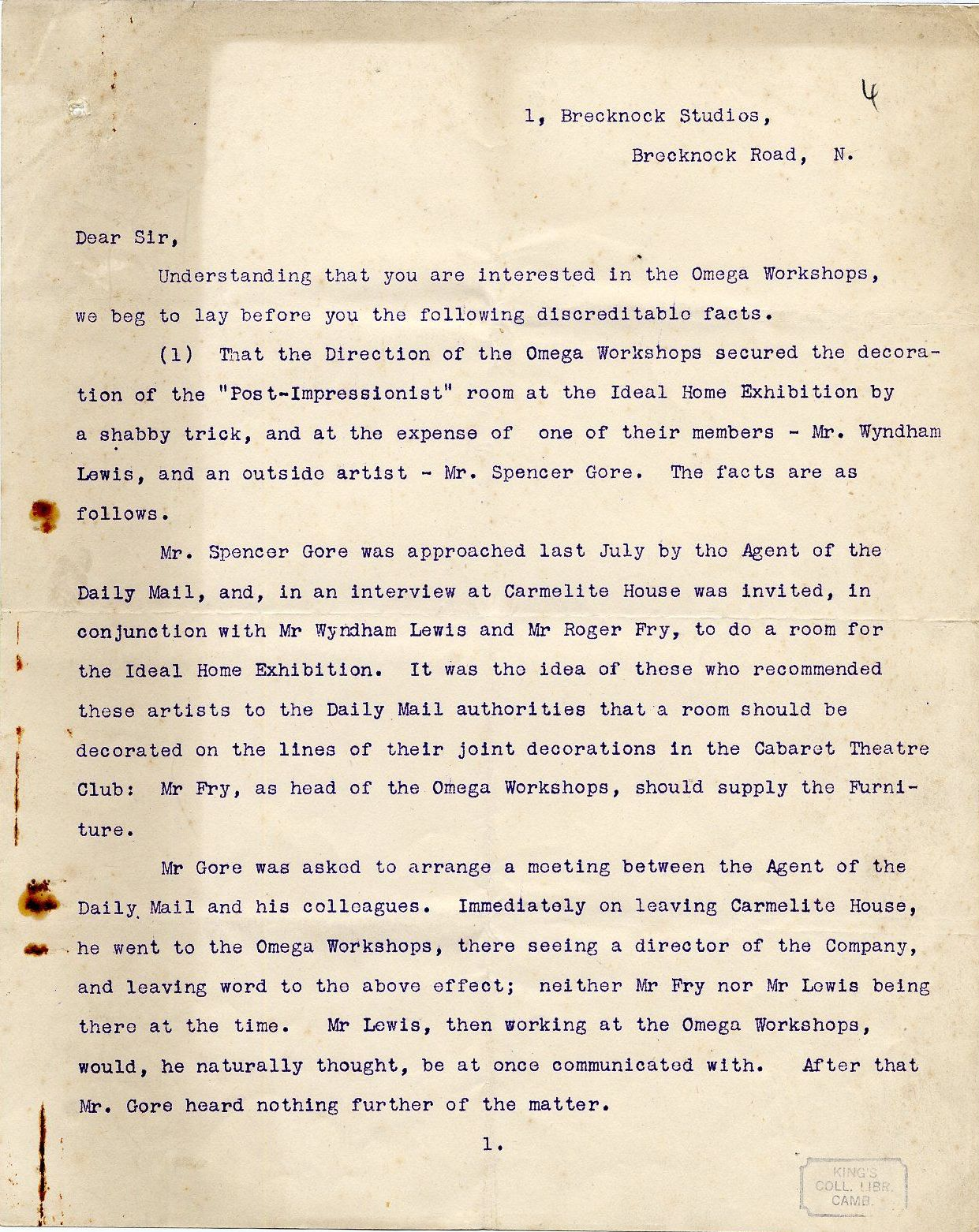 First page of a round robin signed by Etchells, Hamilton, Wadsworth and Lewis on their dispute with REF, c. October 1913. By permission of the Wyndham Lewis Memorial Trust (a registered charity). [REF/3/92]