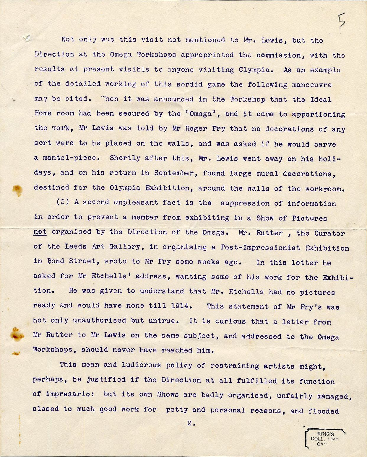Second page of a round robin signed by Etchells, Hamilton, Wadsworth and Lewis on their dispute with REF, c. October 1913. By permission of the Wyndham Lewis Memorial Trust (a registered charity). [REF/3/92]