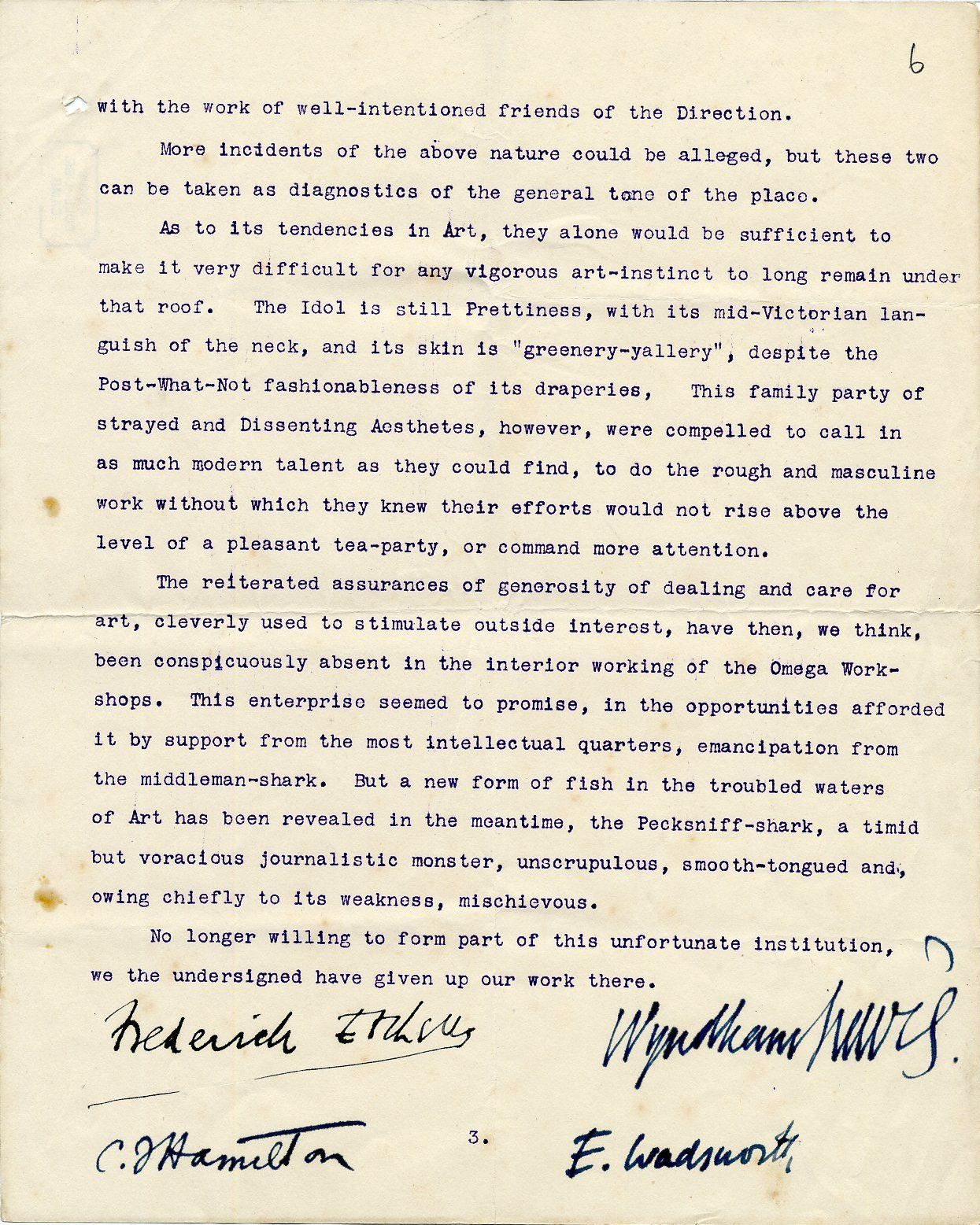 Third page of a round robin signed by Etchells, Hamilton, Wadsworth and Lewis on their dispute with REF, c. October 1913. By permission of the Wyndham Lewis Memorial Trust (a registered charity). [REF/3/92]