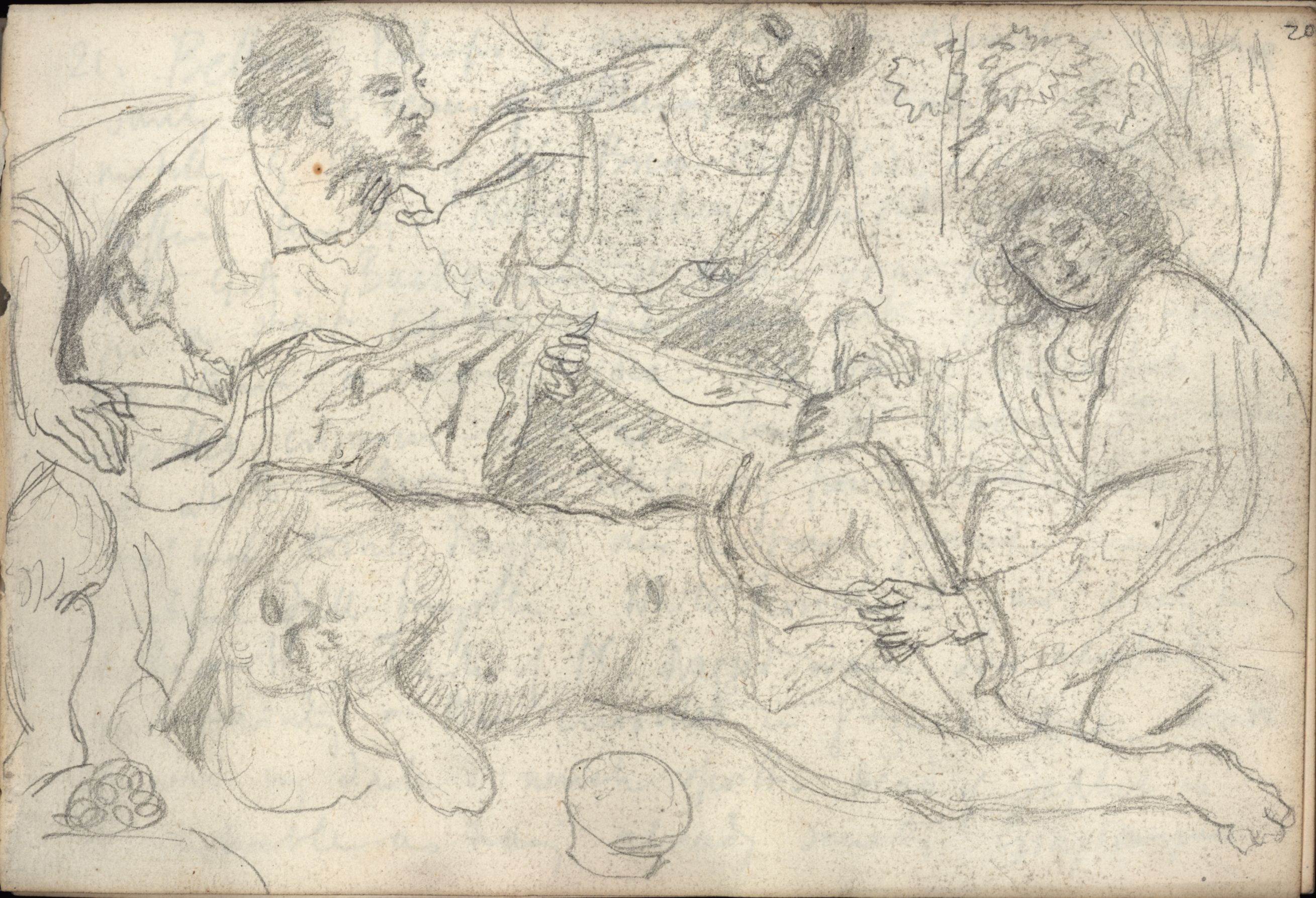 Sketch by Roger Fry, 1902, of Bellini's 'Drunkenness of Noah'. [REF/4/1/24]