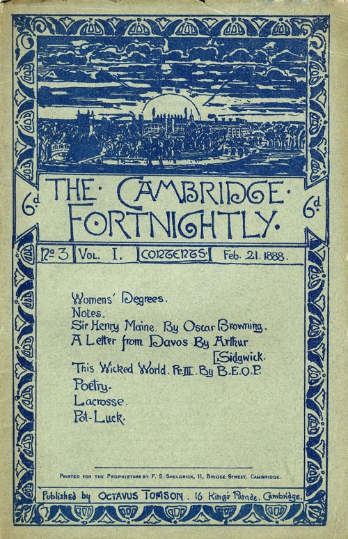'The Cambridge Fortnightly' no.1 vol.3, 1888, cover by Roger Fry (REF/4/4)