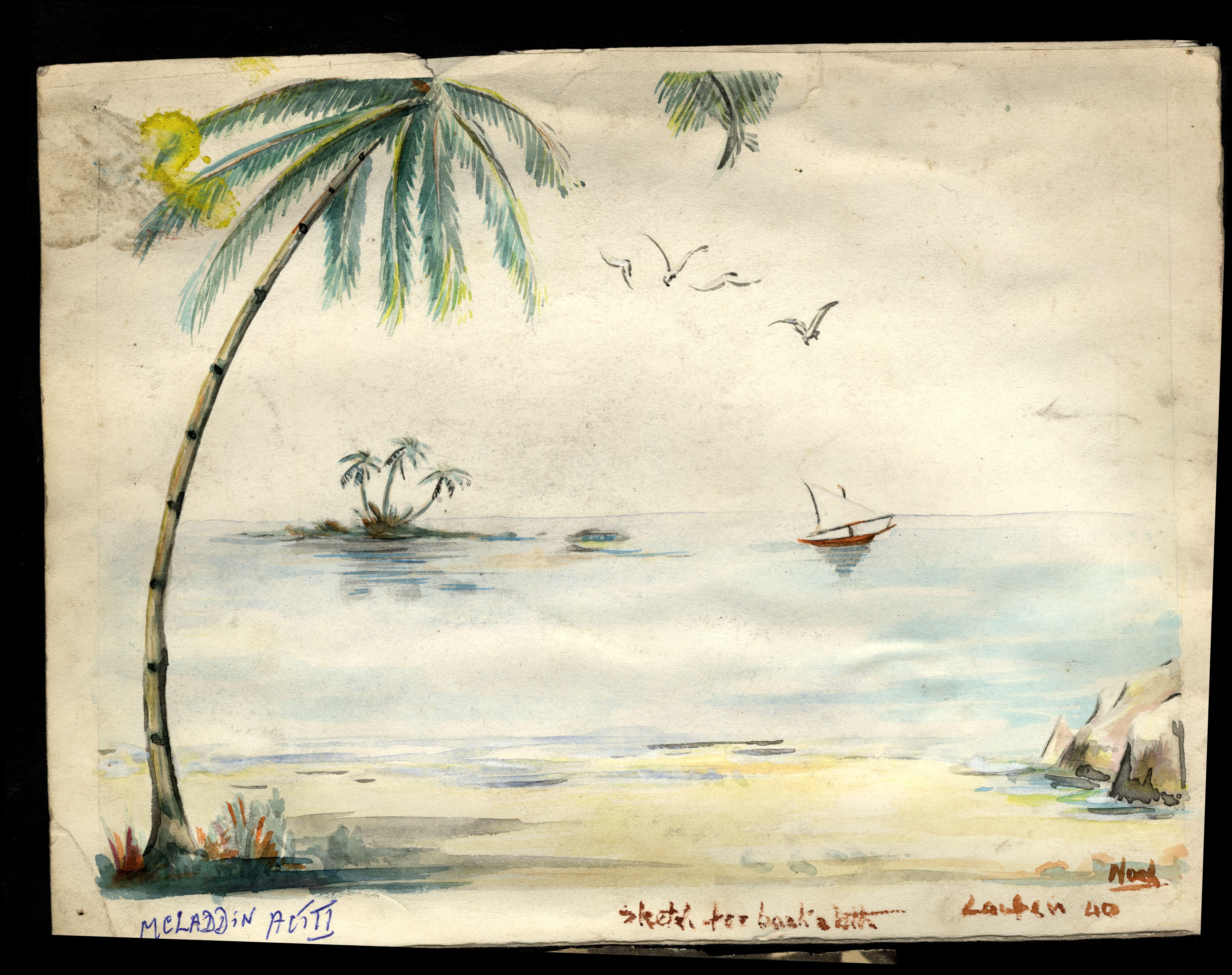 Watercolour set design for McLaddin, Act III