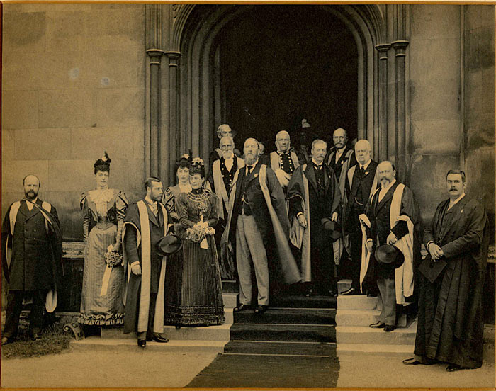 The Royal Party on the steps of the Hall, 1864. (KCAR/5/4/3/7)