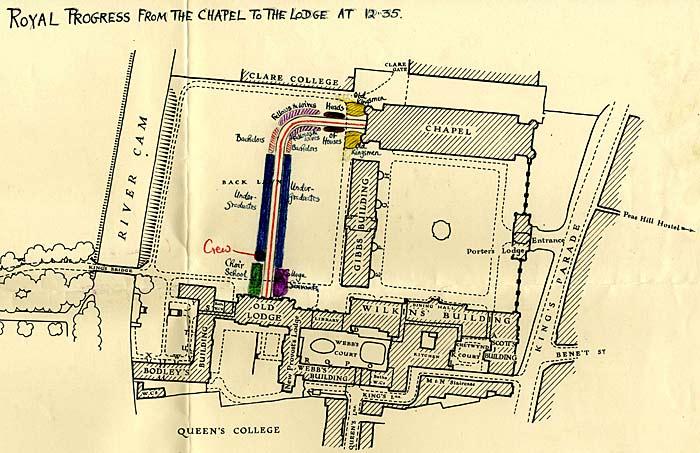 Plan of the Royal Progress through King's, 1951. (KCAC/6/1/11/38)