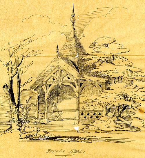 Sketch of a summer-house in the Fellows' Garden, 1861