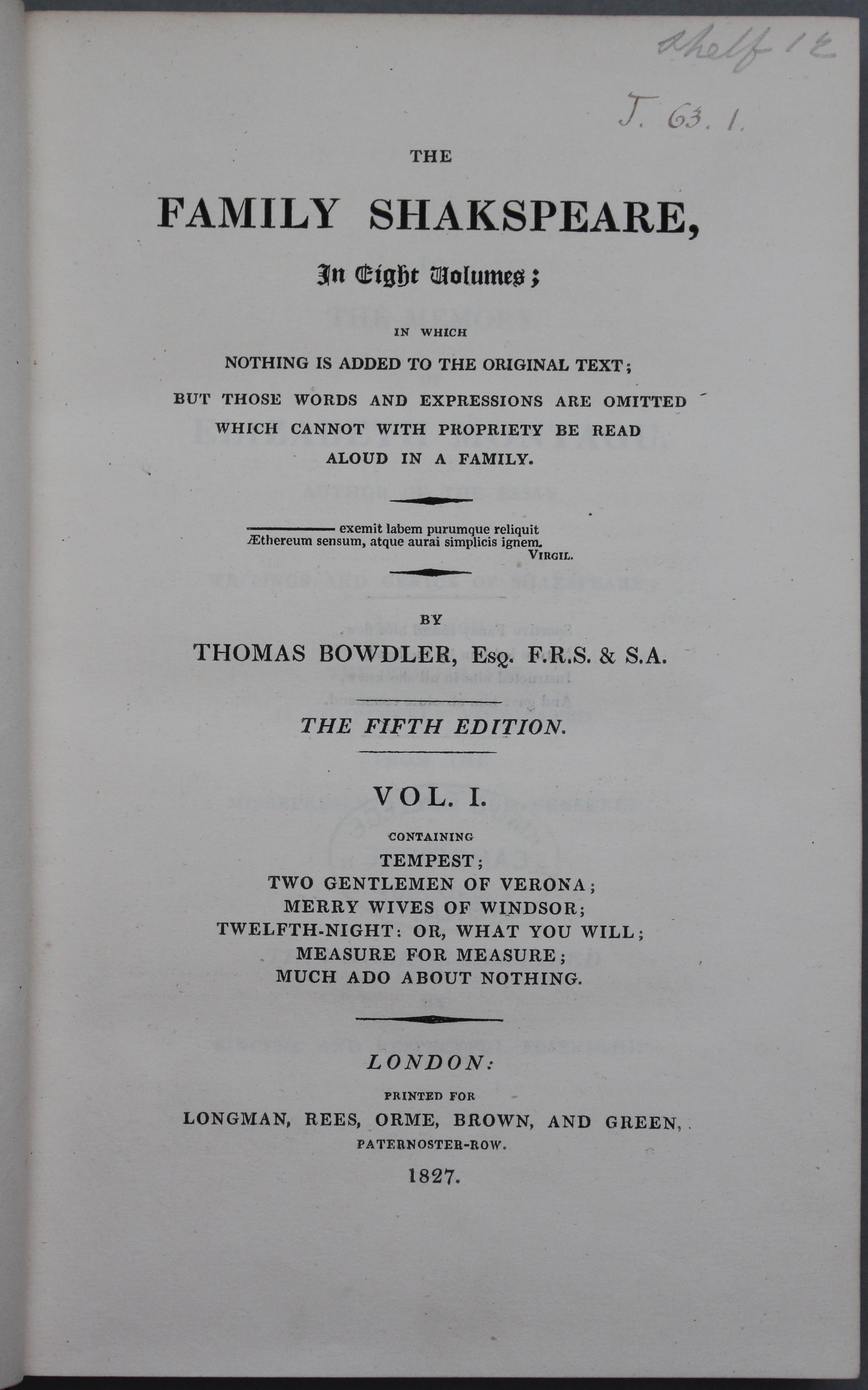 Title page of The Family Shakespeare, 5th edition, 1827 (Thackeray.J.63.1)