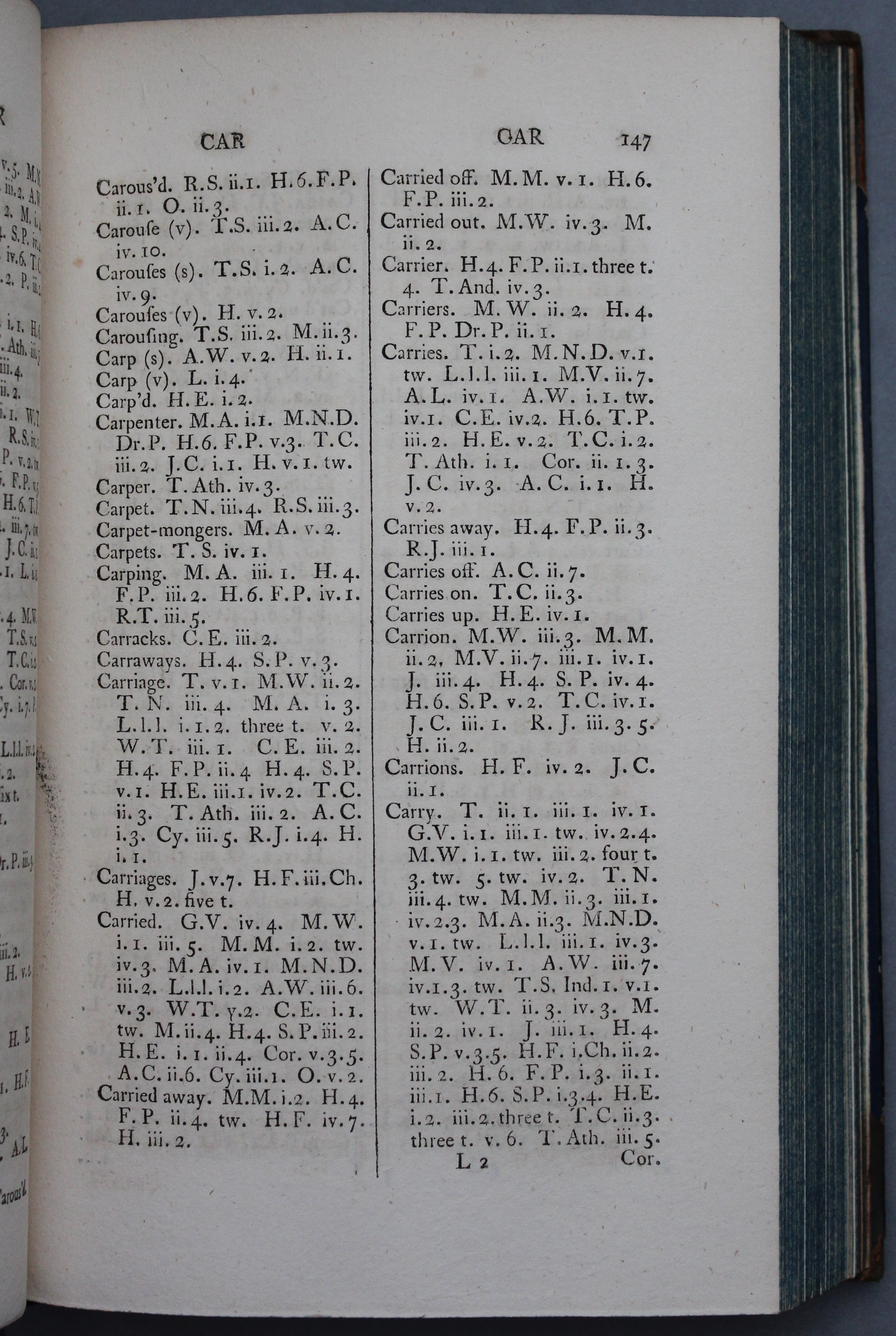A sample page from Twiss, A Complete Verbal Index to the Plays of Shakespeare (Thackeray.J.63.9)