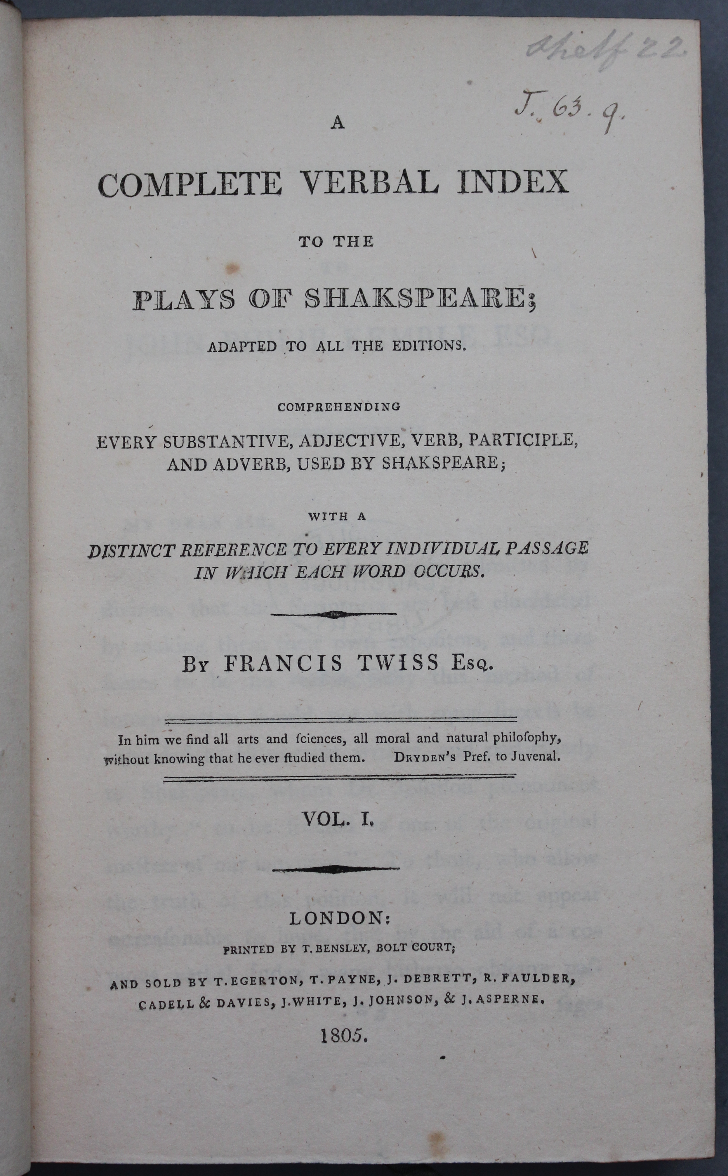 Title page from Francis Twiss, A Complete Verbal Index to the Plays of Shakespeare (London, 1805) (Thackeray.J.63.9)