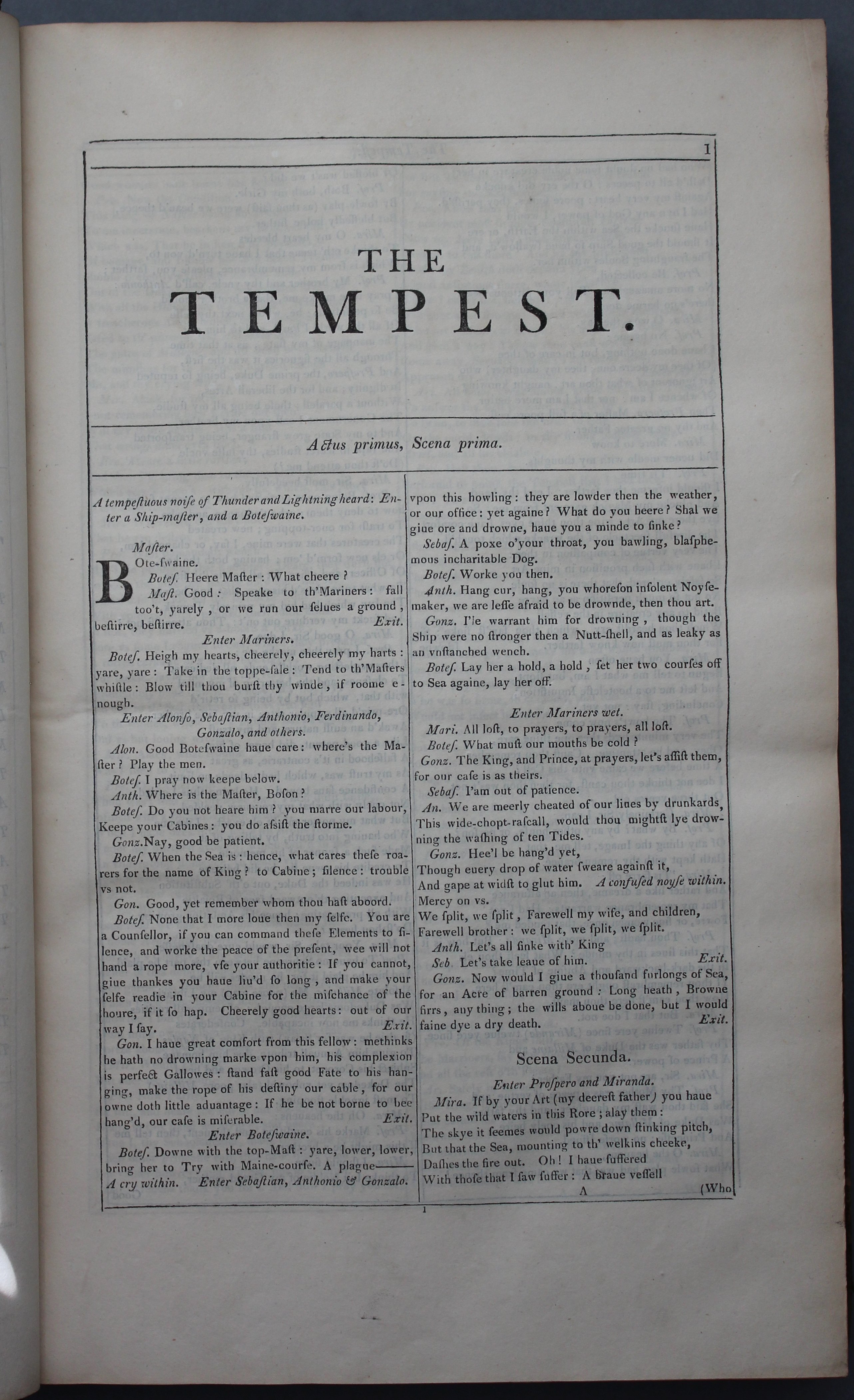 Note the plainer printing style of the opening of 'The Tempest' from the 1807 reprint of Mr. William Shakespeare's Comedies, History, &Tragedies (London, 1807)
