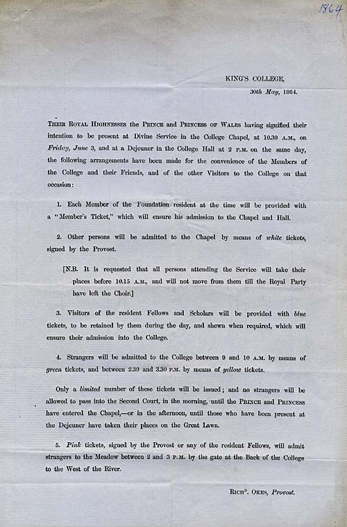 Instructions to King's members for the Royal Visit, 1864. (KCAR/8/2/4/29)