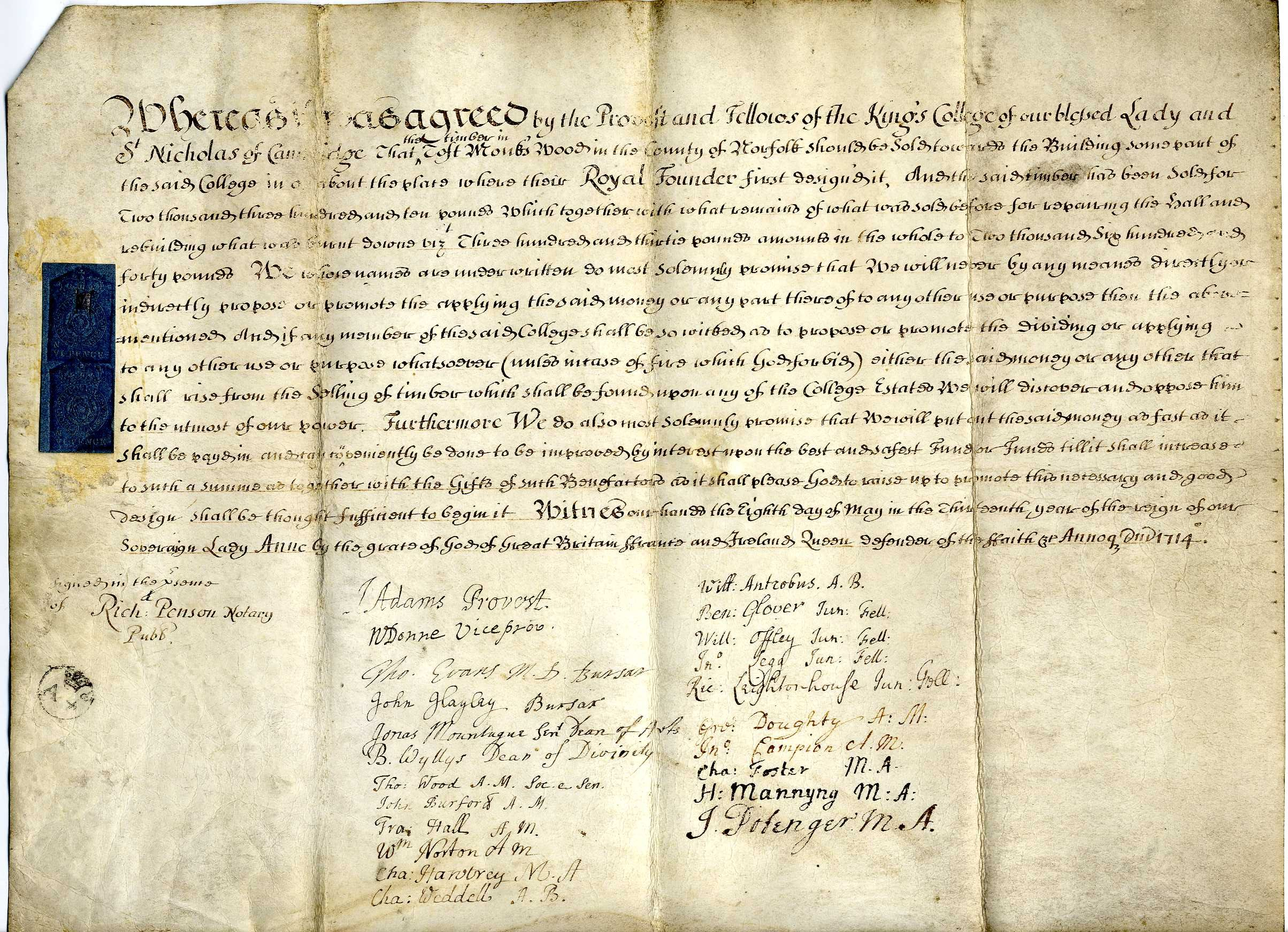 Agreement by King's College to appropriate money from the sale of timber in Toft Monks for repairing buildings on the College site. Signed by the Provost, Bursars and Fellows, 8 May 1714. [TOM/52]