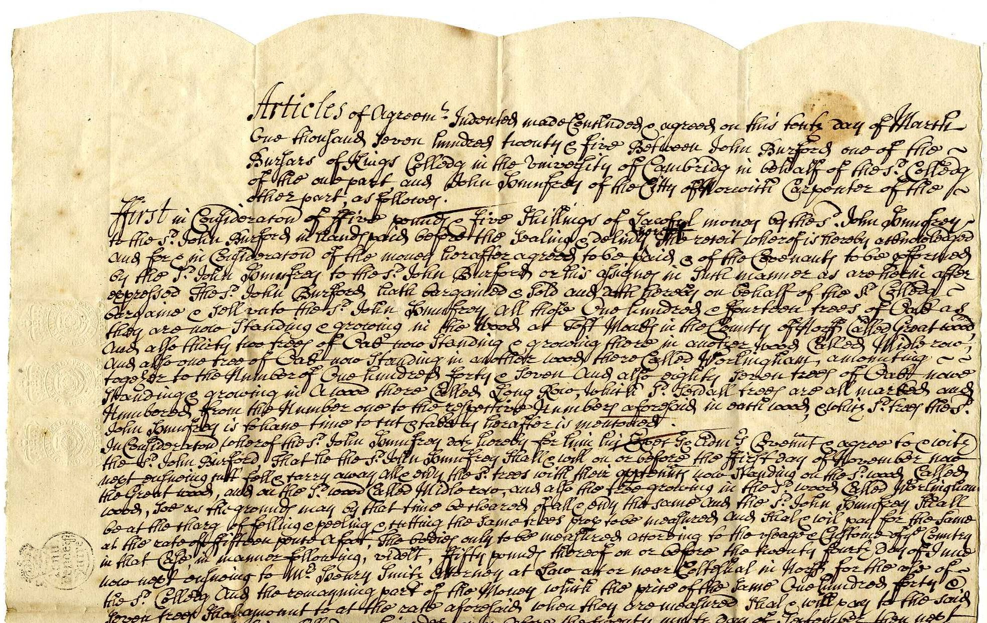 Upper half of an agreement for the sale of 234 oak trees to John Humphry, 1726. [TOM/54]